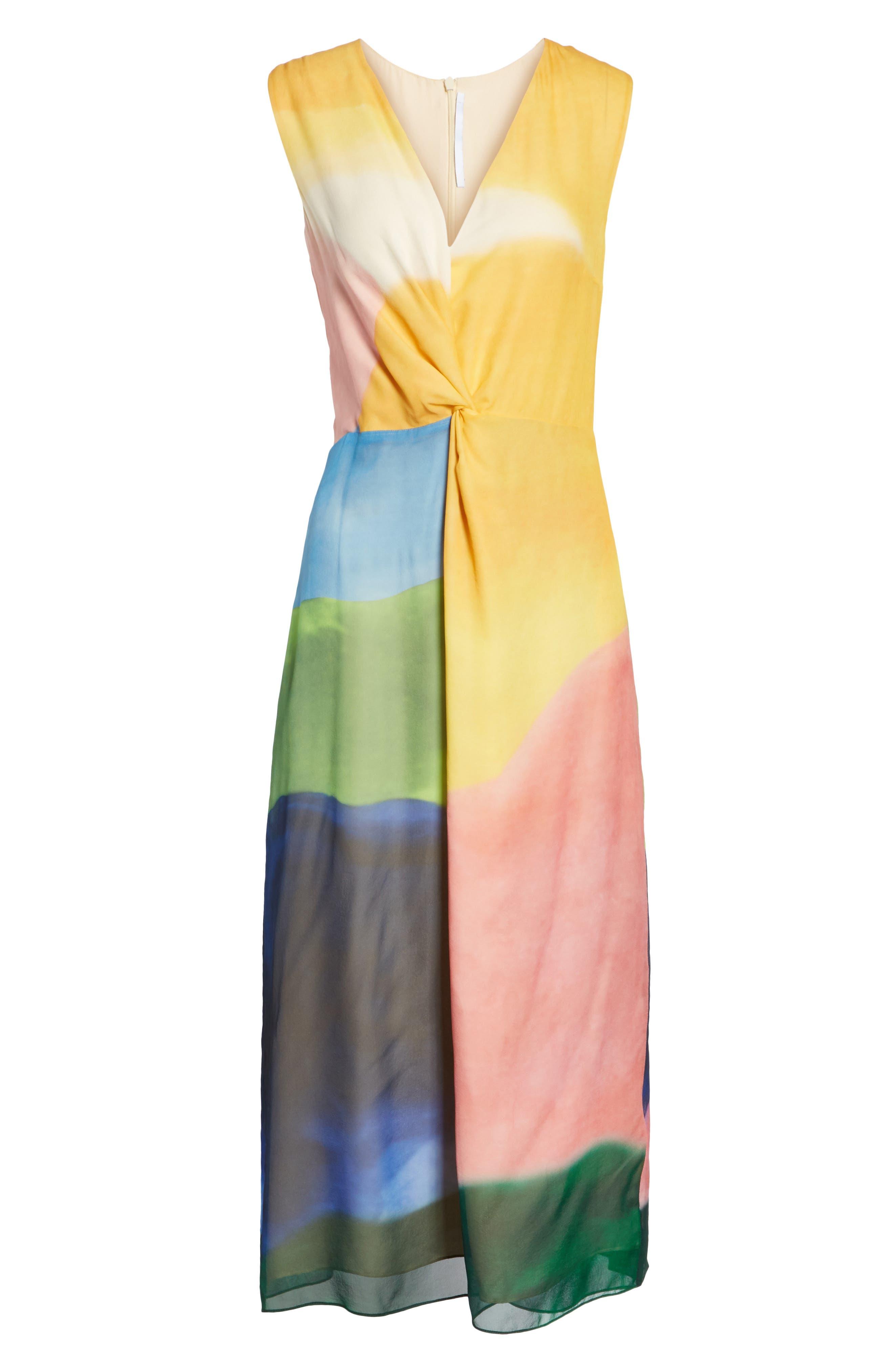 Watercolor Twisted Silk Midi Dress,                             Alternate thumbnail 7, color,                             650