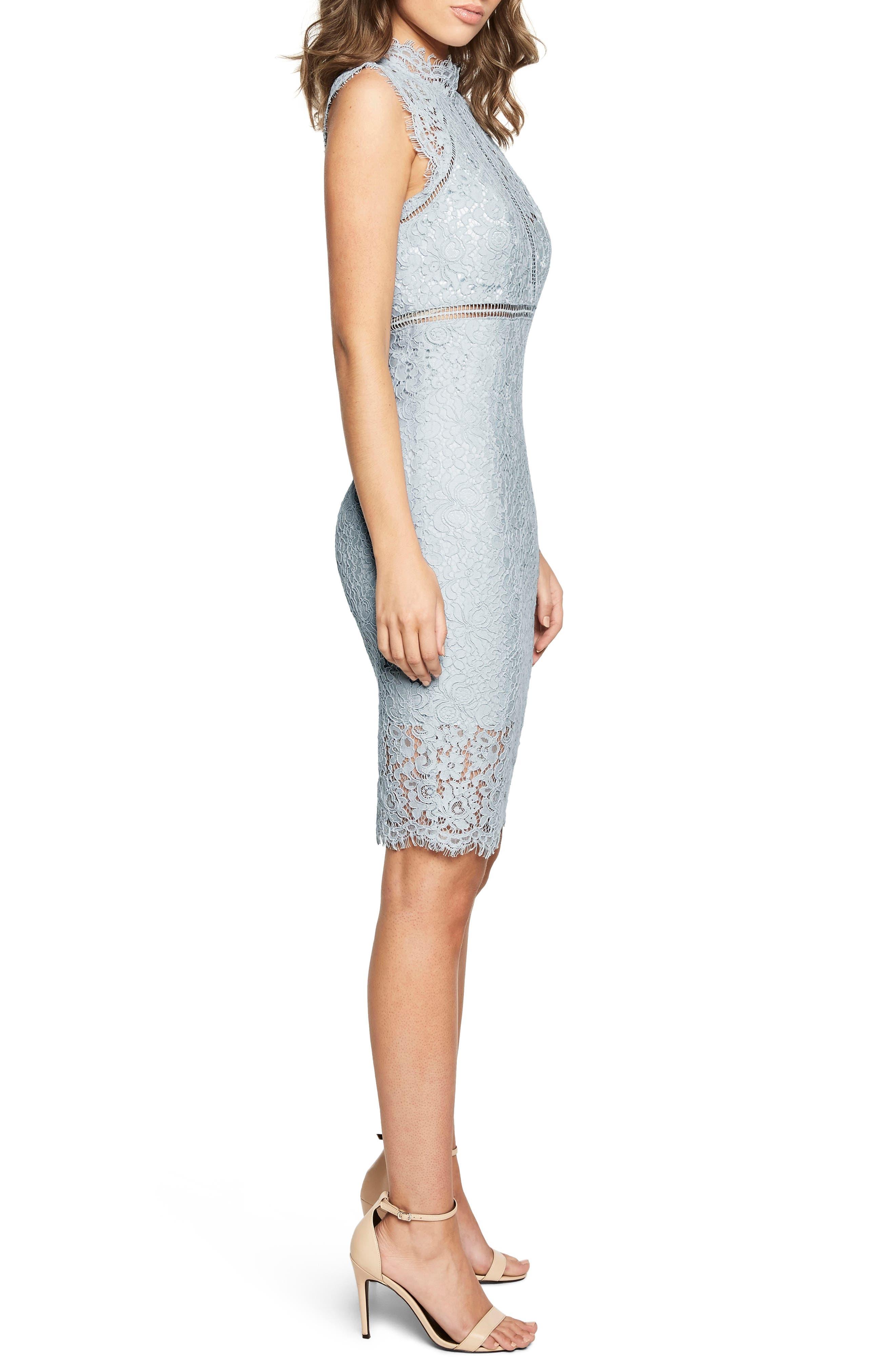 Lace Sheath Dress,                             Alternate thumbnail 3, color,                             BLUE MIST
