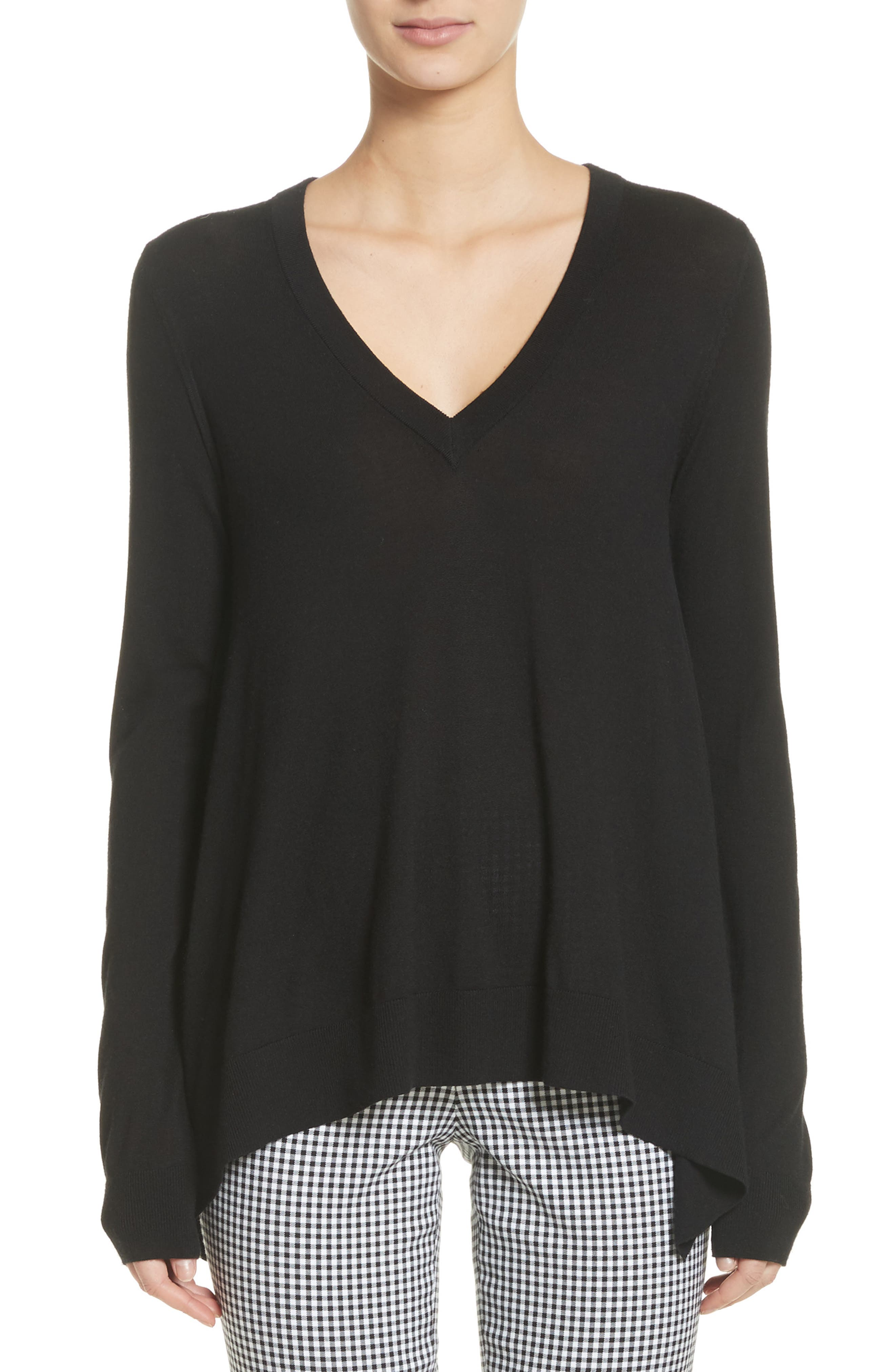 Draped Wool, Silk & Cashmere Sweater,                         Main,                         color, 001