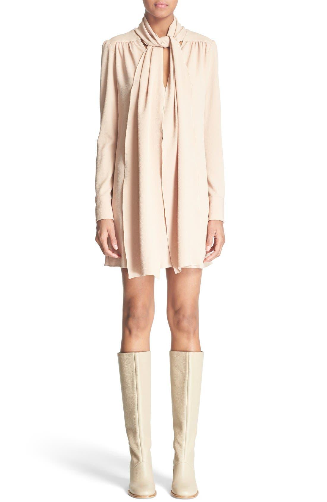 Tie Neck Crepe Dress, Main, color, 250