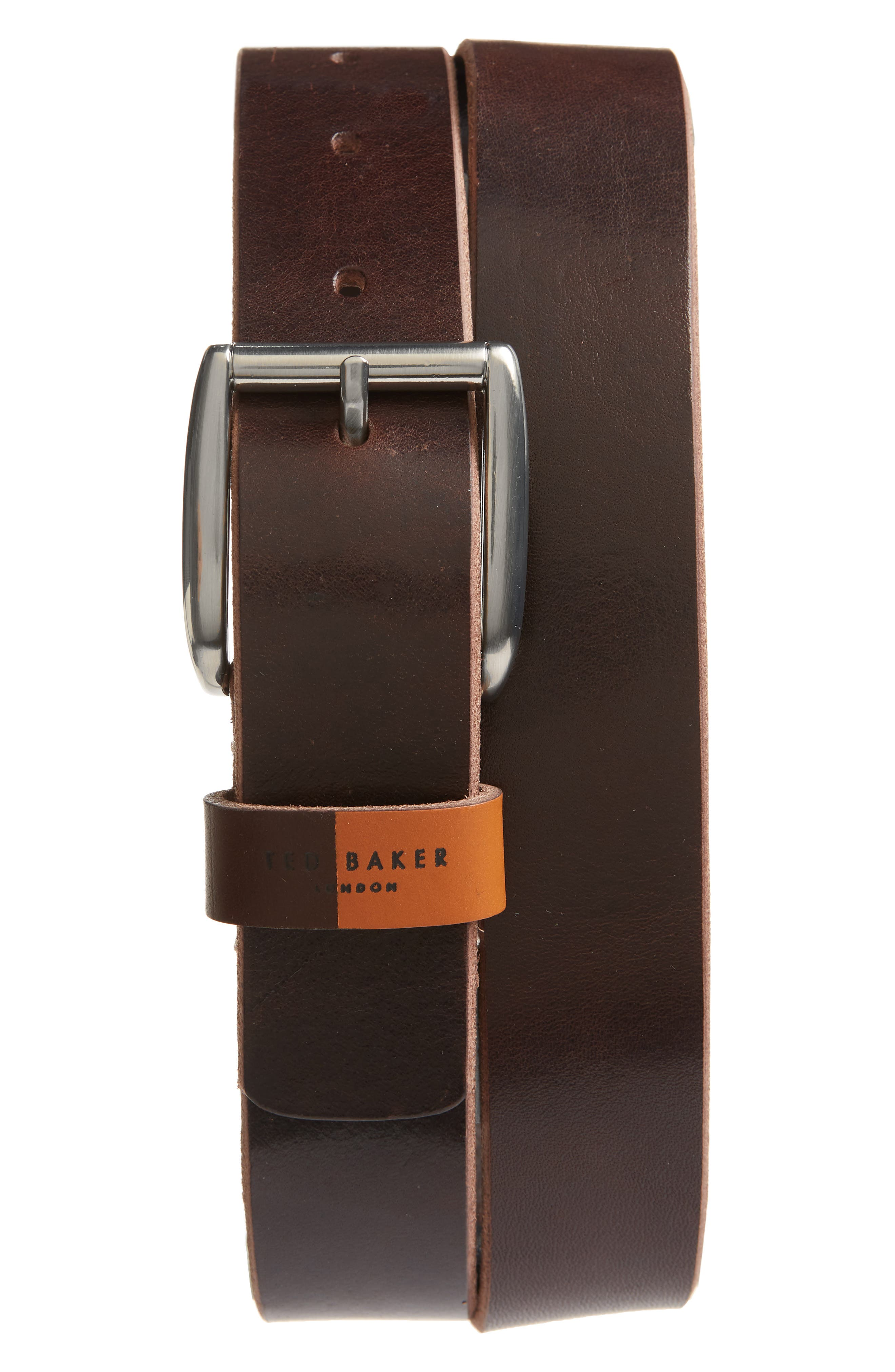 Ted Baker London Quica Leather Belt, Chocolate