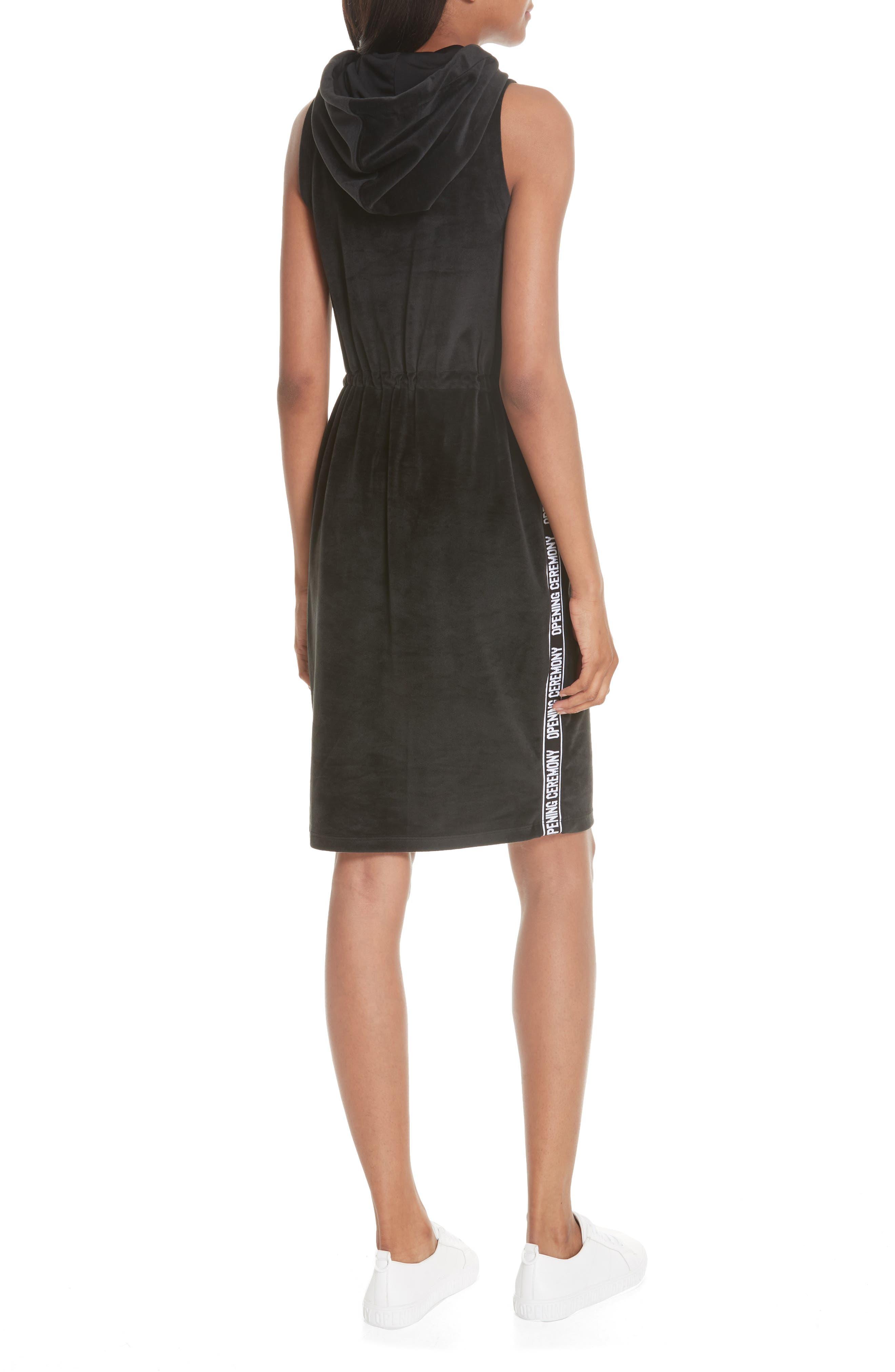 Velour Hoodie Dress,                             Alternate thumbnail 2, color,                             BLACK