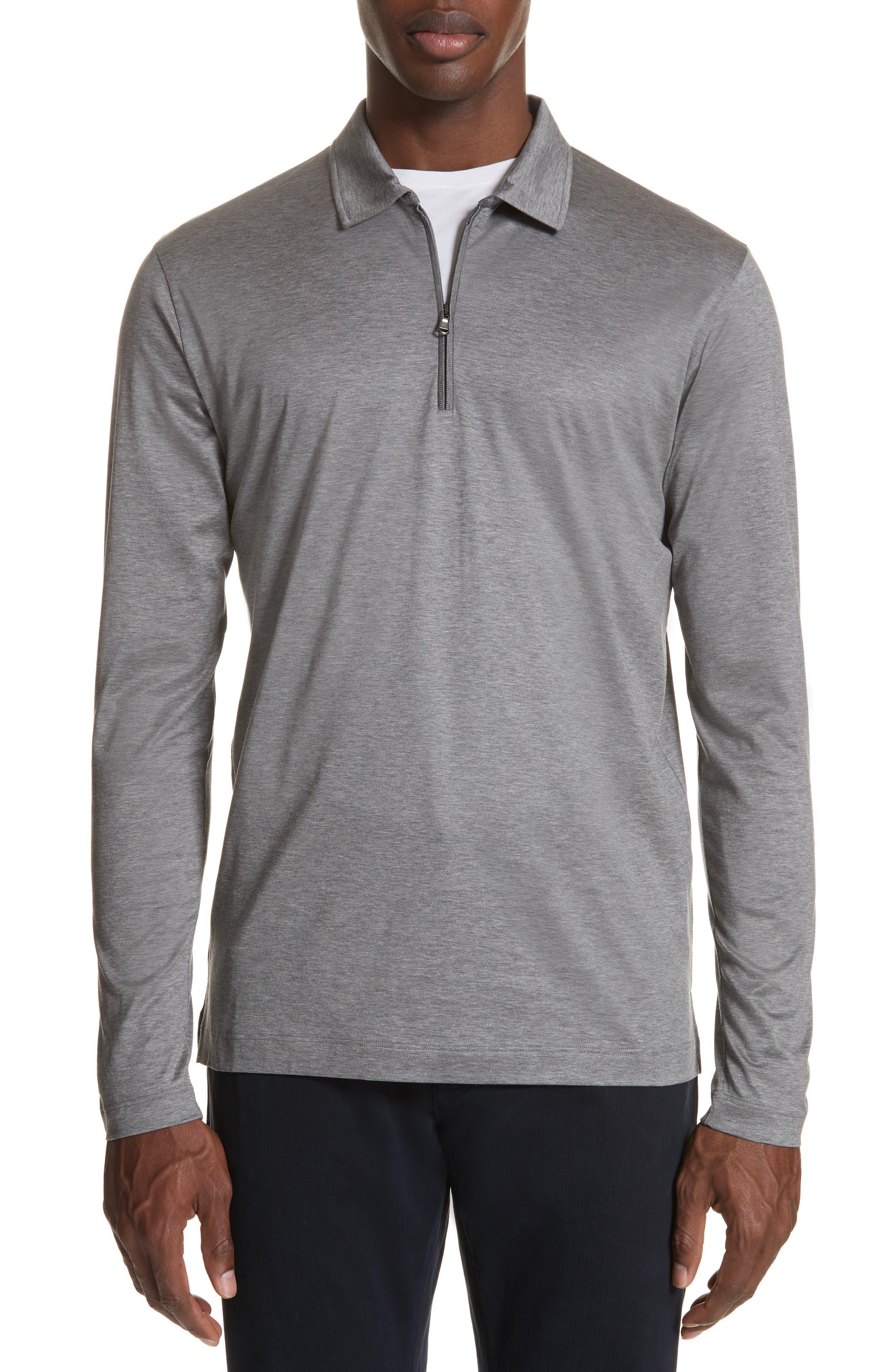 Cotton Quarter Zip Polo Shirt,                             Main thumbnail 1, color,                             020