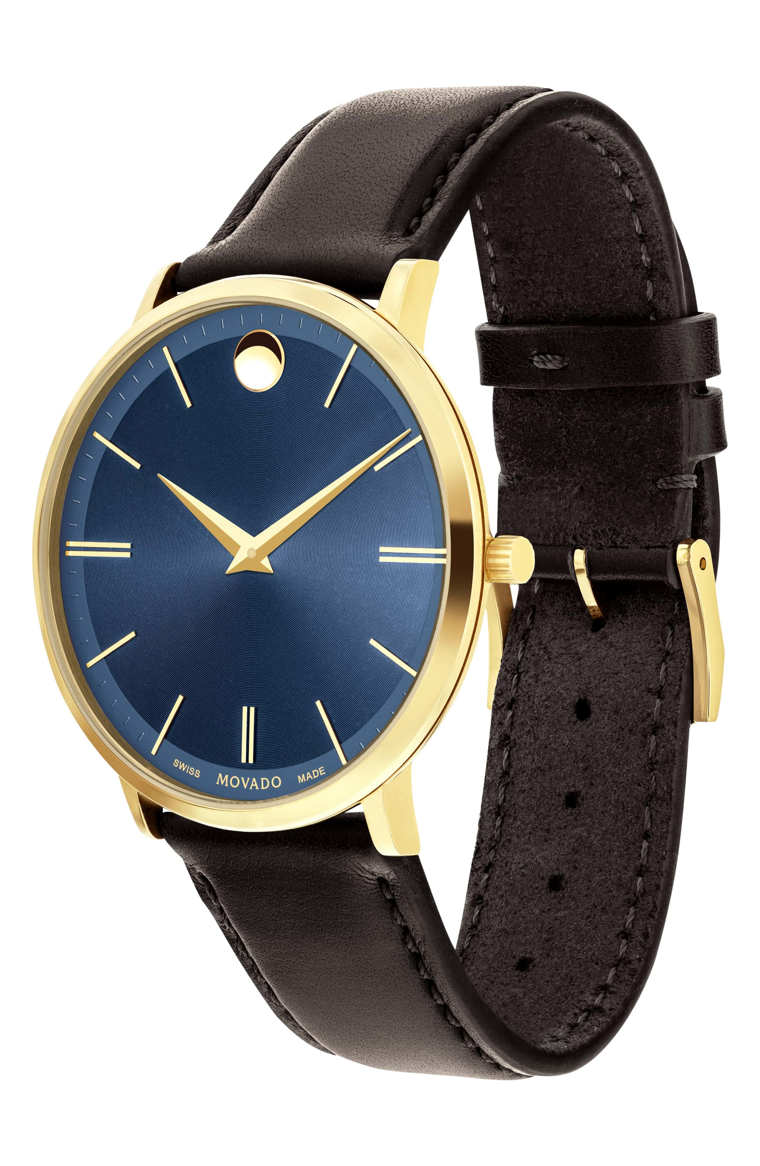 'Ultra Slim' Leather Strap Watch, 40mm,                             Alternate thumbnail 3, color,                             BROWN/ BLUE/ GOLD