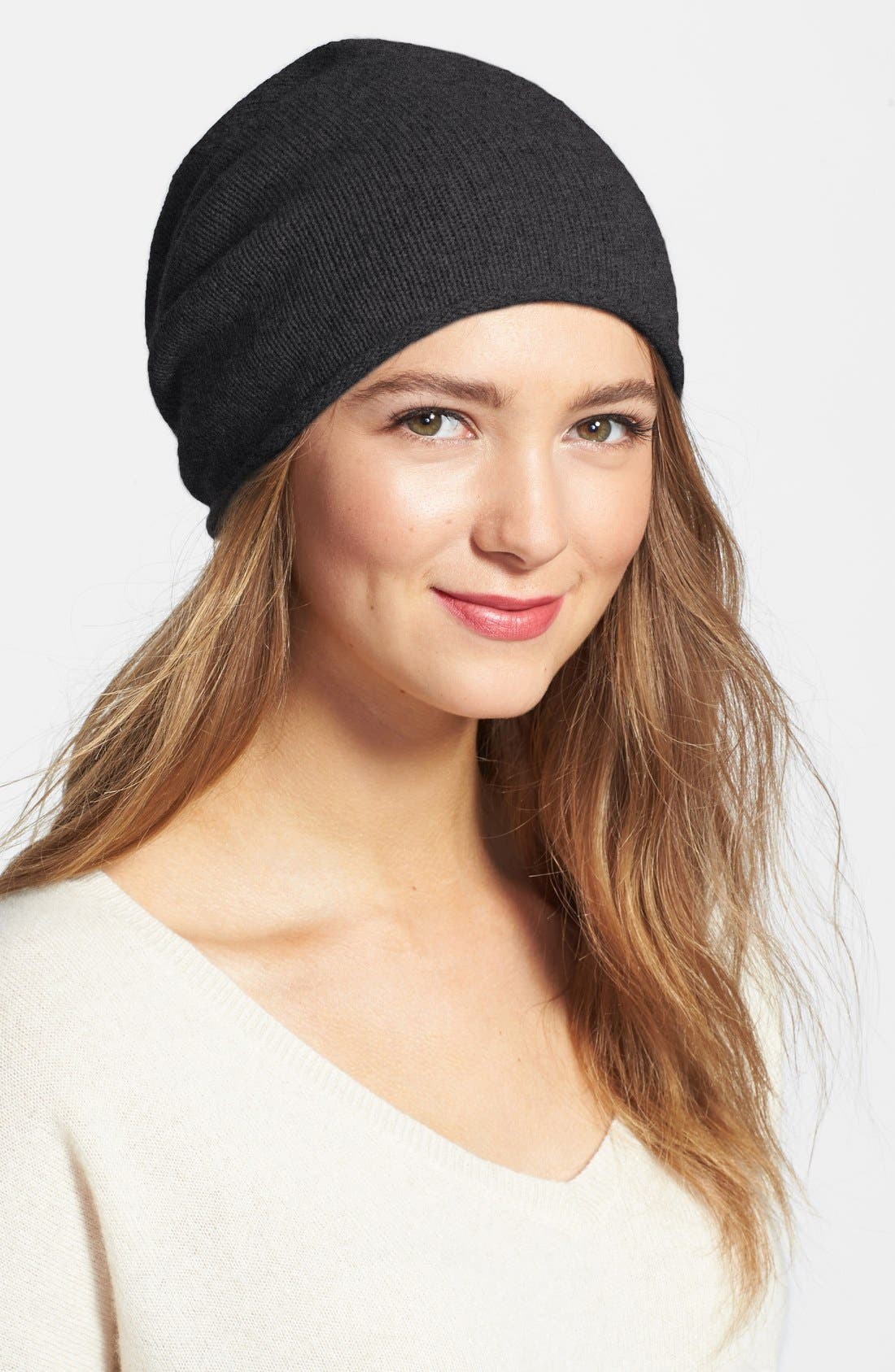 Slouchy Cashmere Beanie,                             Main thumbnail 4, color,