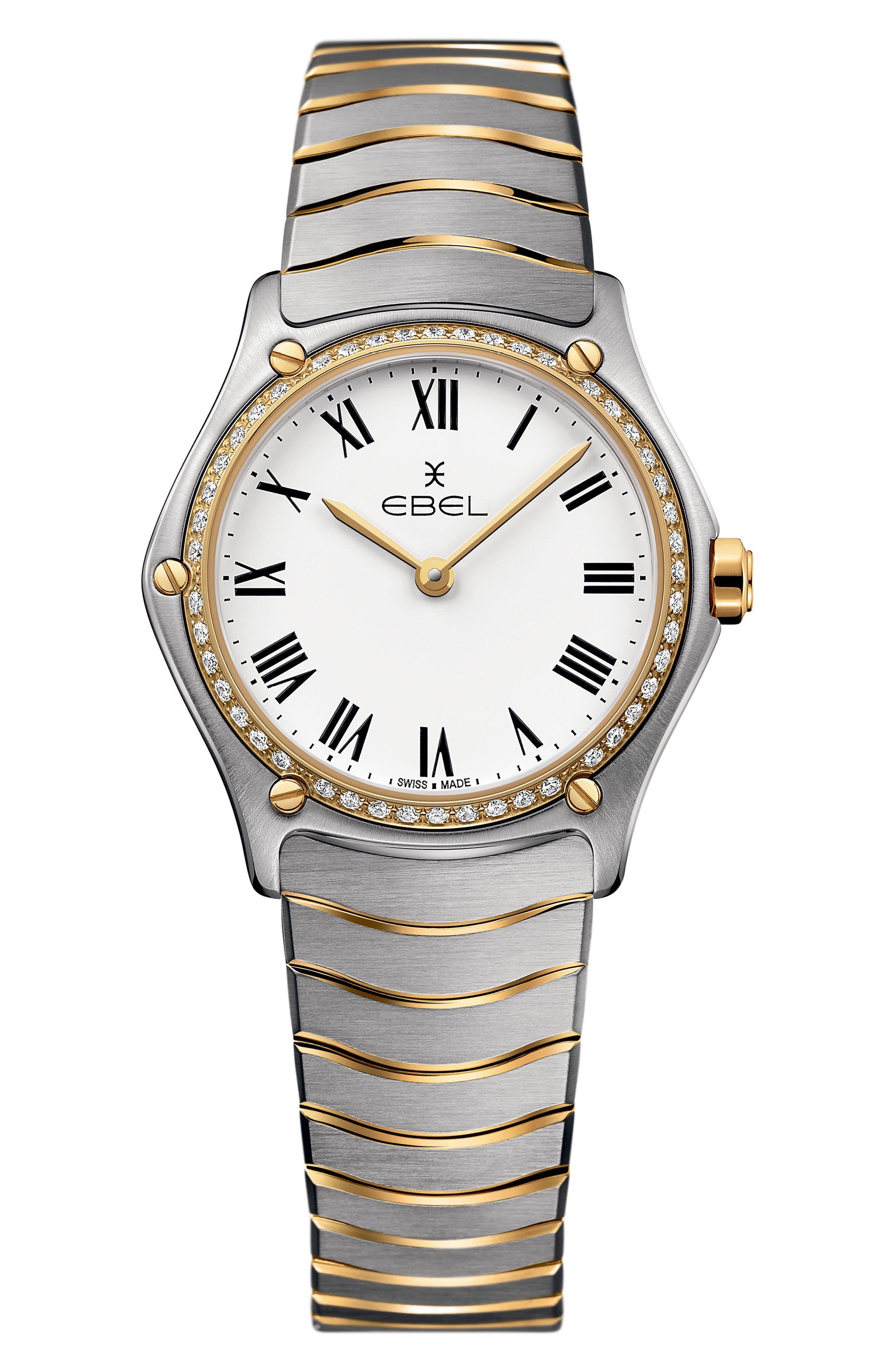Sport Classic Diamond Bracelet Watch, 29mm,                         Main,                         color, SILVER/ WHITE/ GOLD
