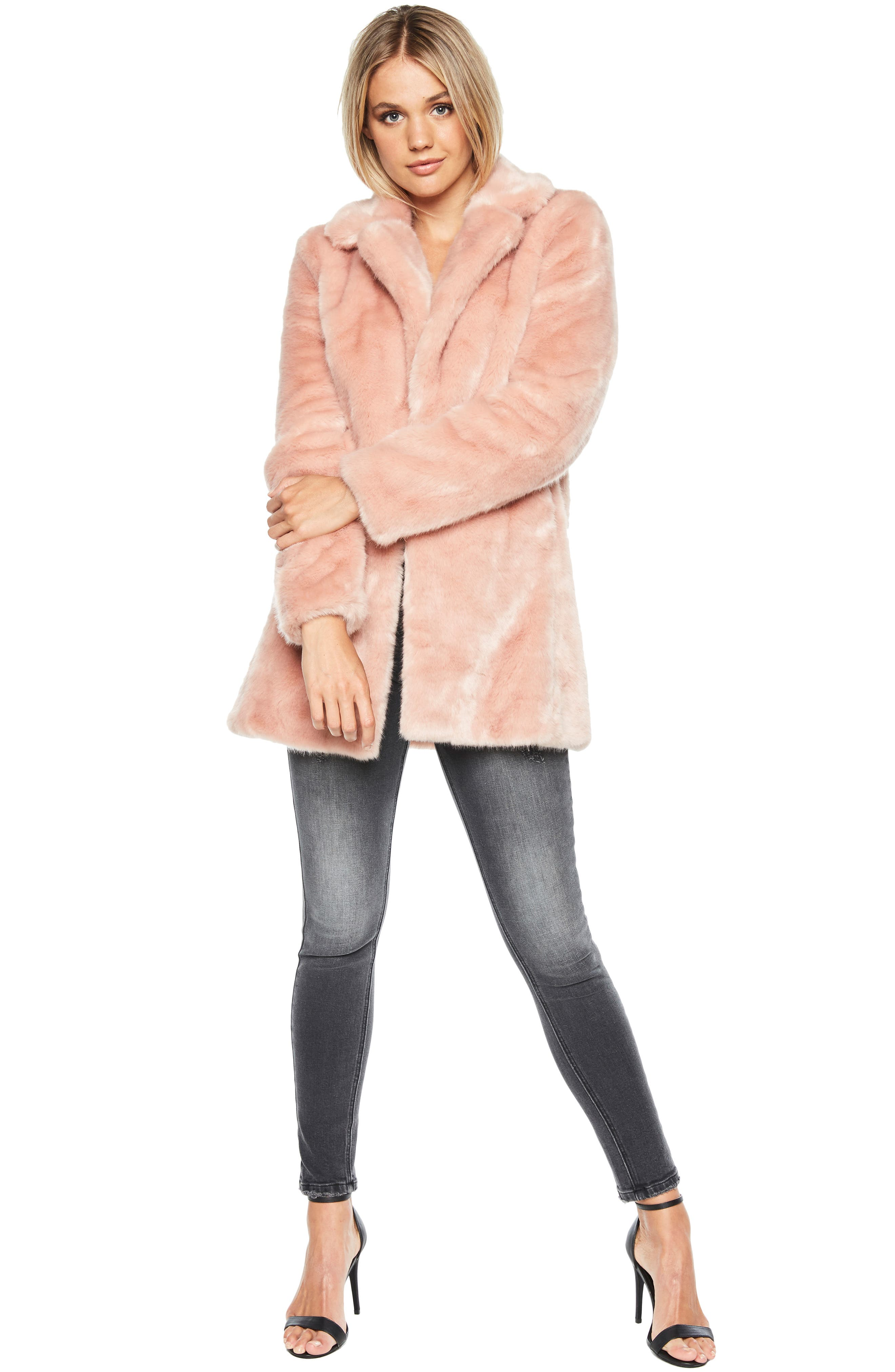 Faux Fur Coat,                             Alternate thumbnail 7, color,                             BLUSH PINK