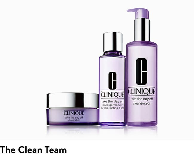 The clean team: Clinique makeup remover.