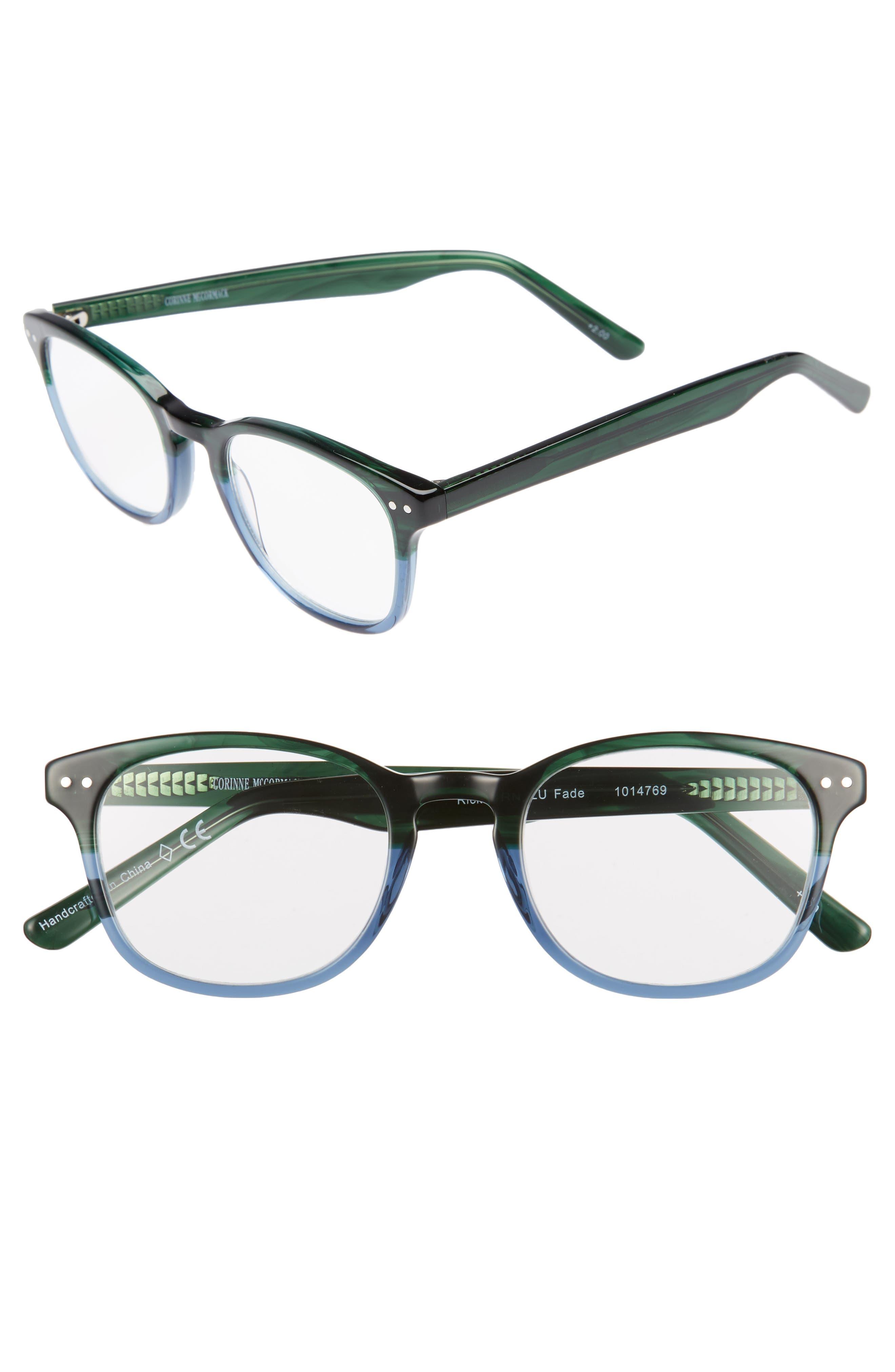 Ricki 49mm Reading Glasses,                         Main,                         color, GREEN