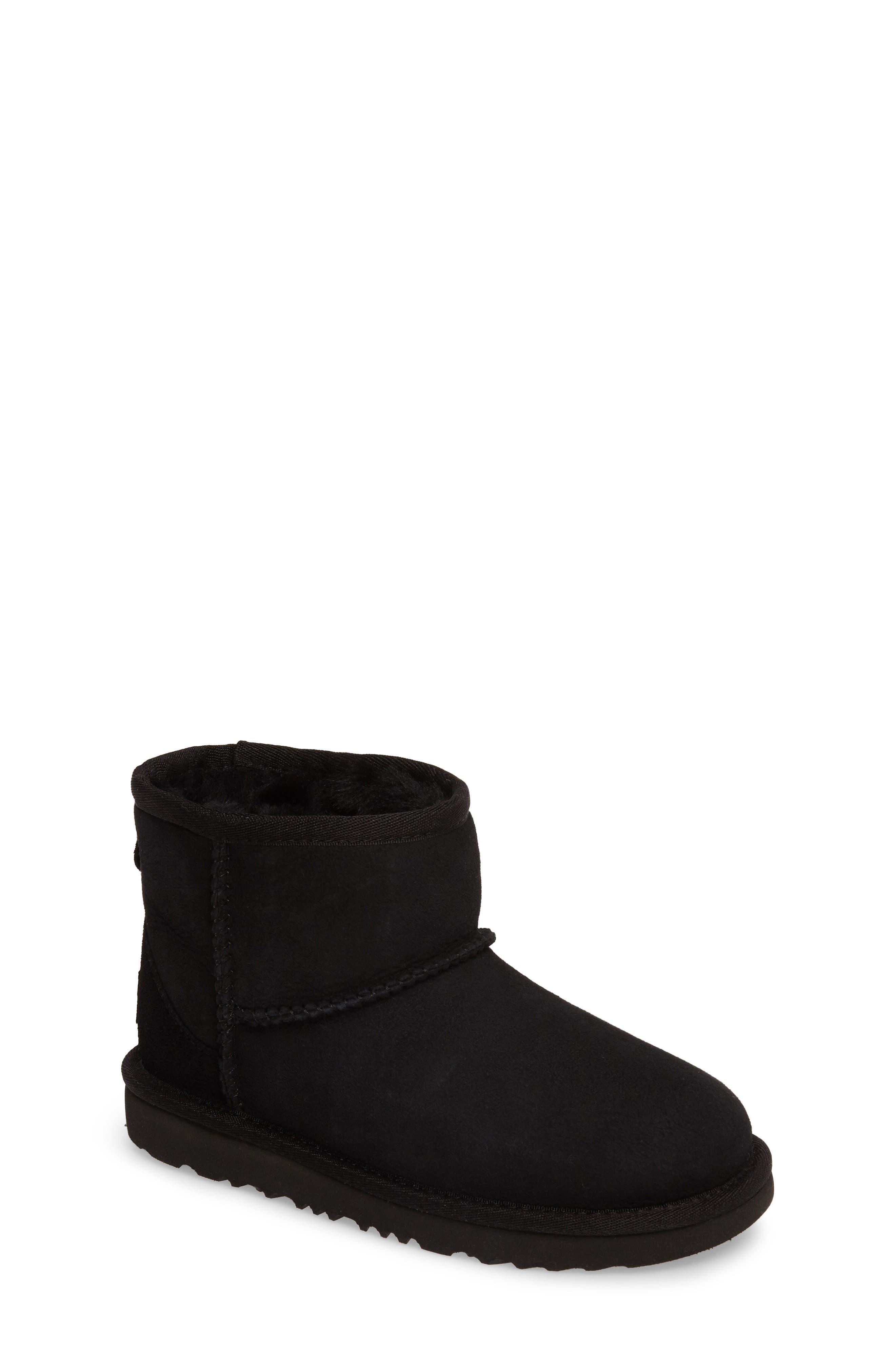 Classic Mini II Water-Resistant Genuine Shearling Boot,                             Main thumbnail 1, color,                             BLACK