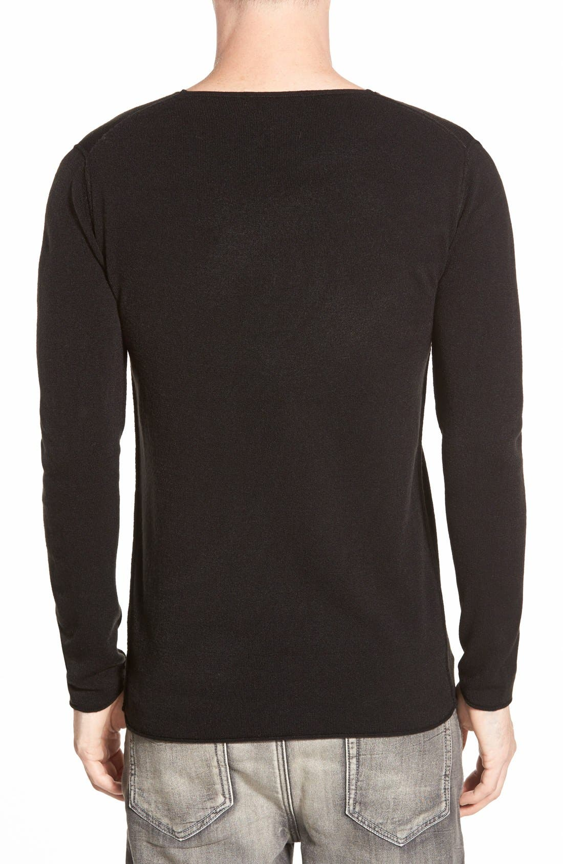 AZUL BY MOUSSY,                             V-Neck Sweater,                             Alternate thumbnail 3, color,                             001
