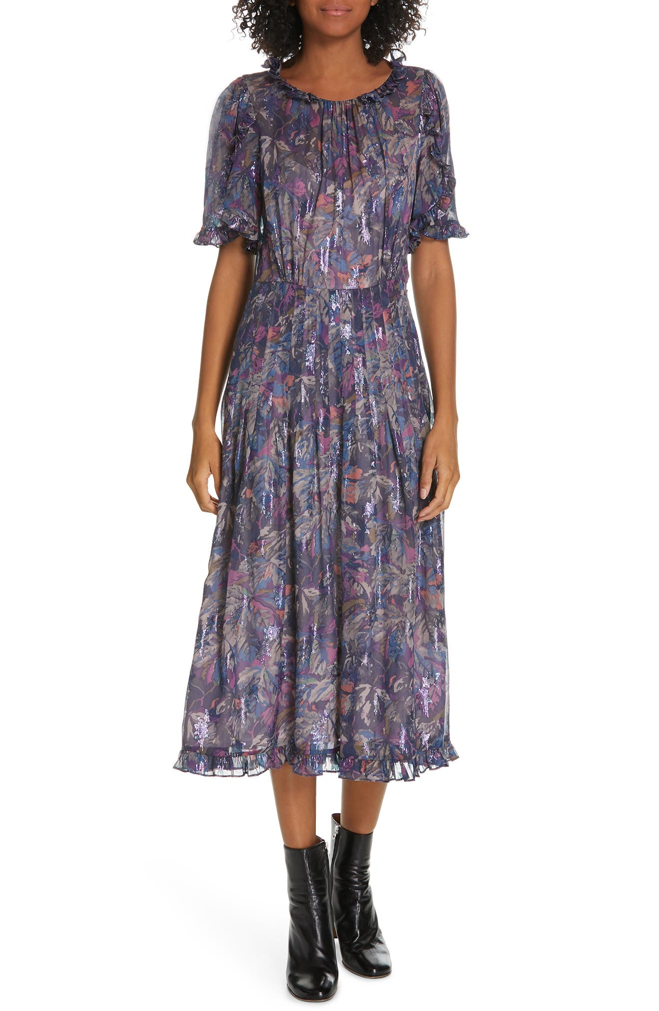 Rebecca Taylor Giverny Metallic Detail Silk Chiffon Dress