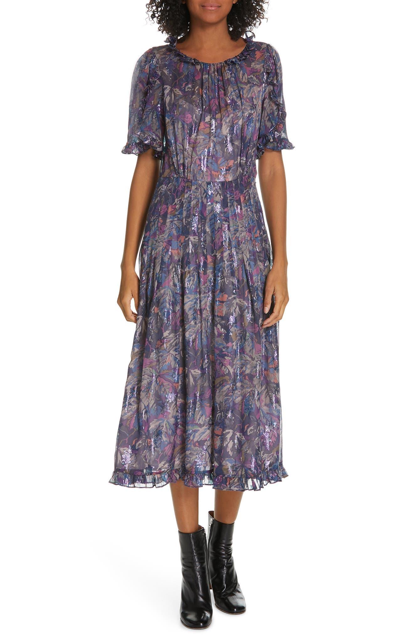 Giverny Metallic Detail Silk Chiffon Dress,                         Main,                         color, AMETHYST COMBO