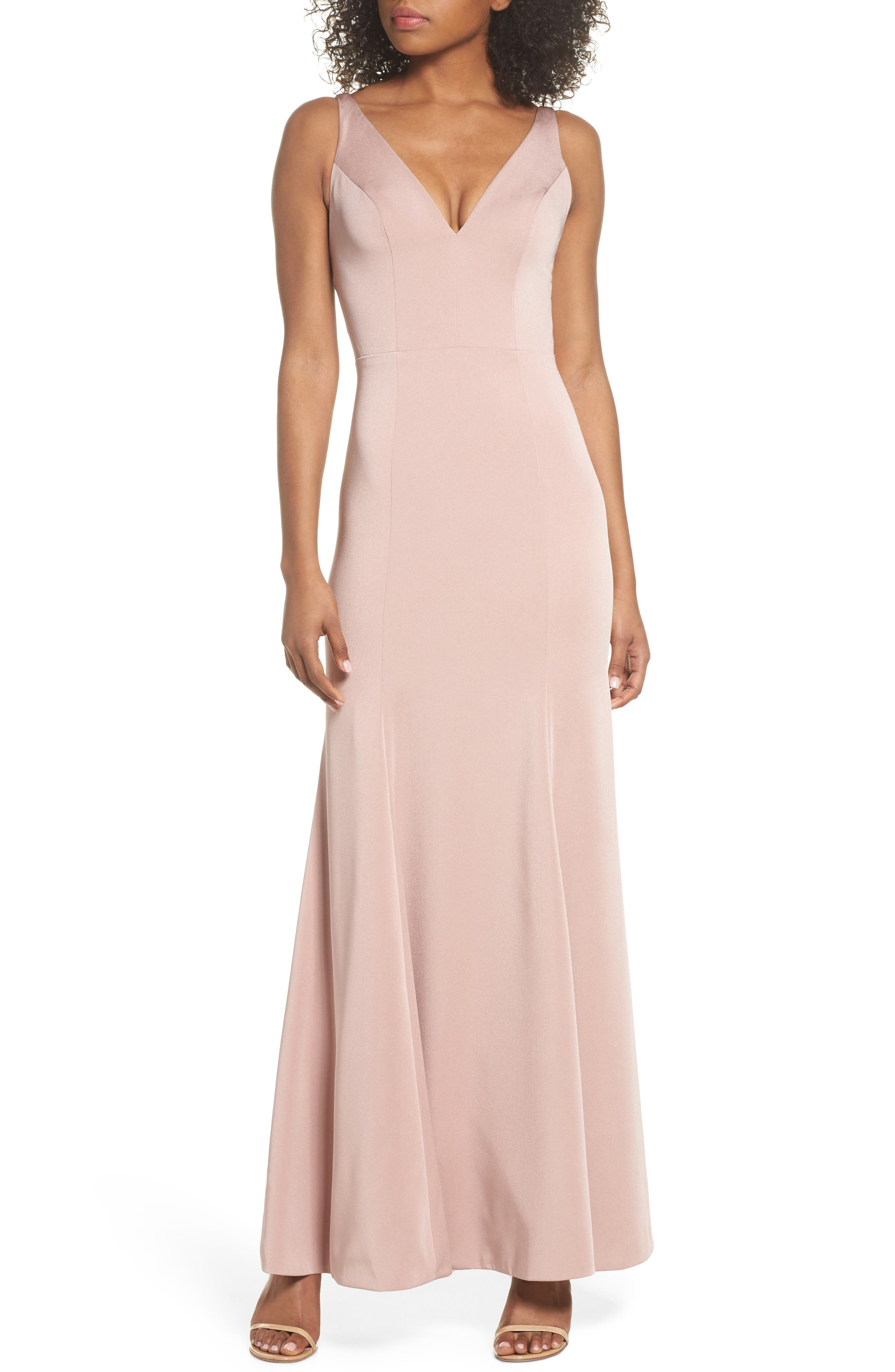 Jenny Yoo Jade Luxe Crepe V-Neck Gown, Pink