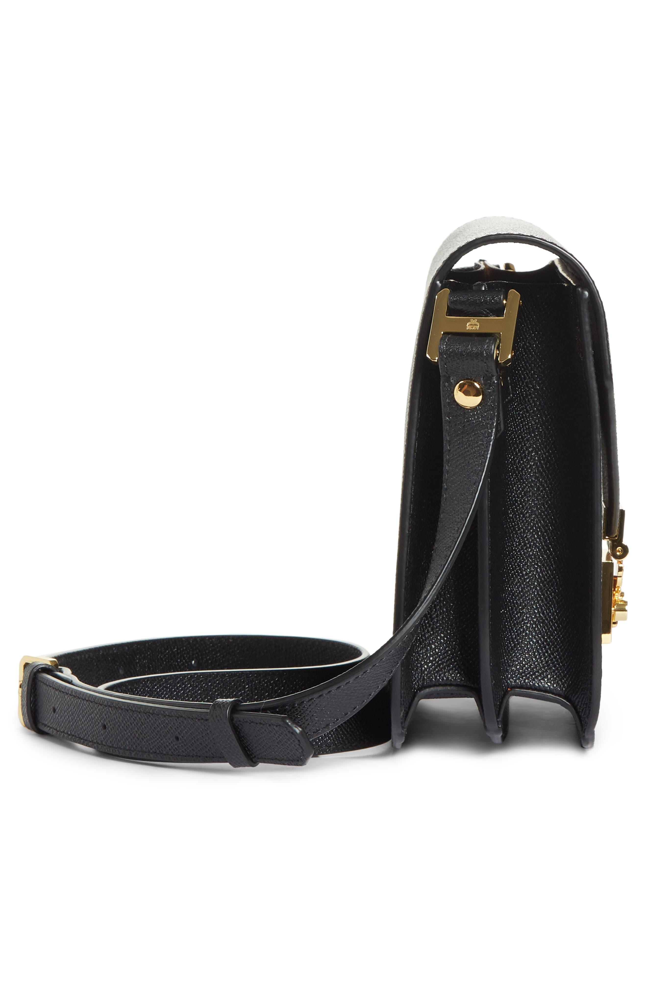 Small RGB Leather Shoulder Bag,                             Alternate thumbnail 5, color,                             BLACK