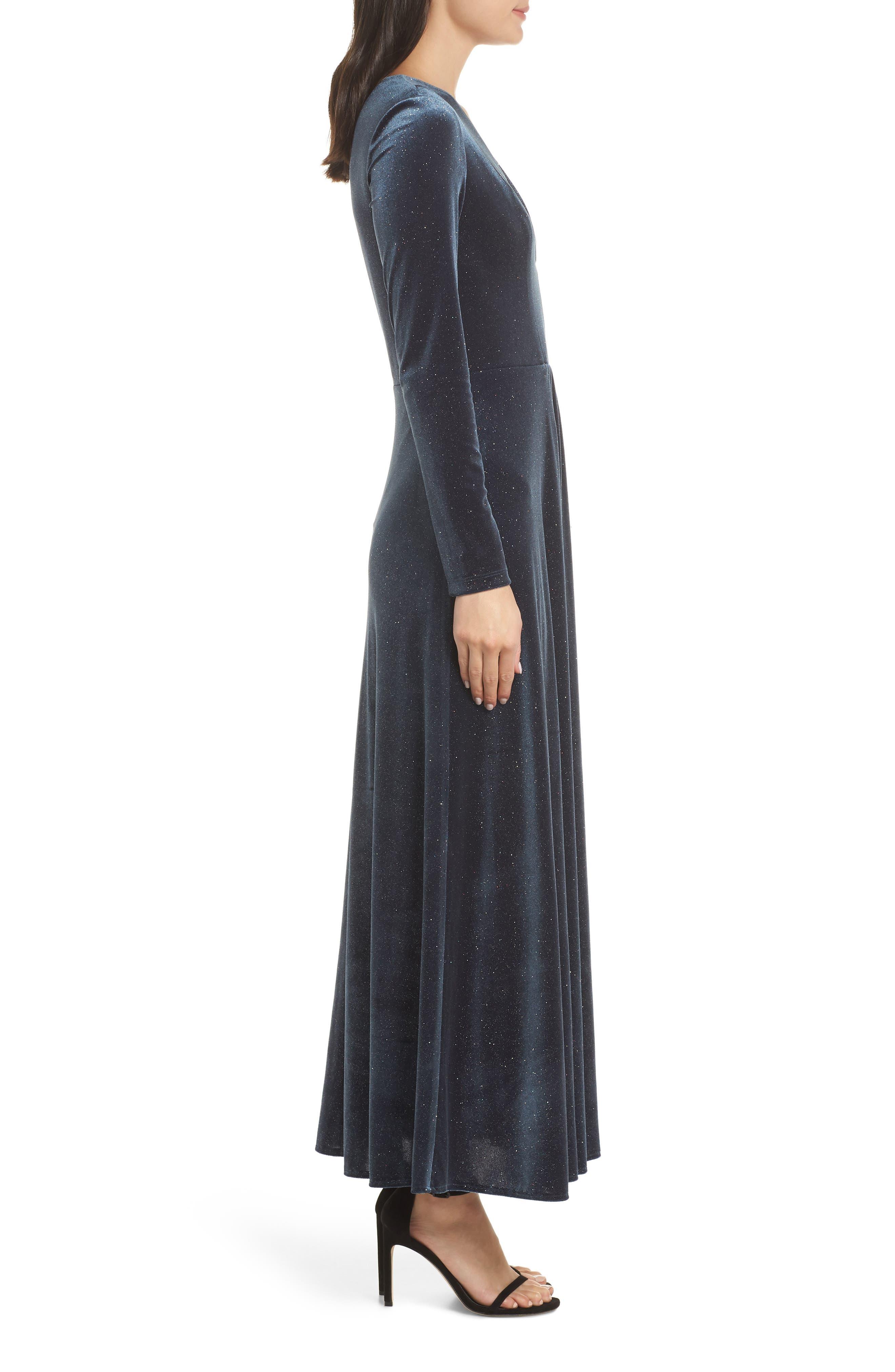 Sparkle Velvet Maxi Dress,                             Alternate thumbnail 3, color,                             MIDNIGHT