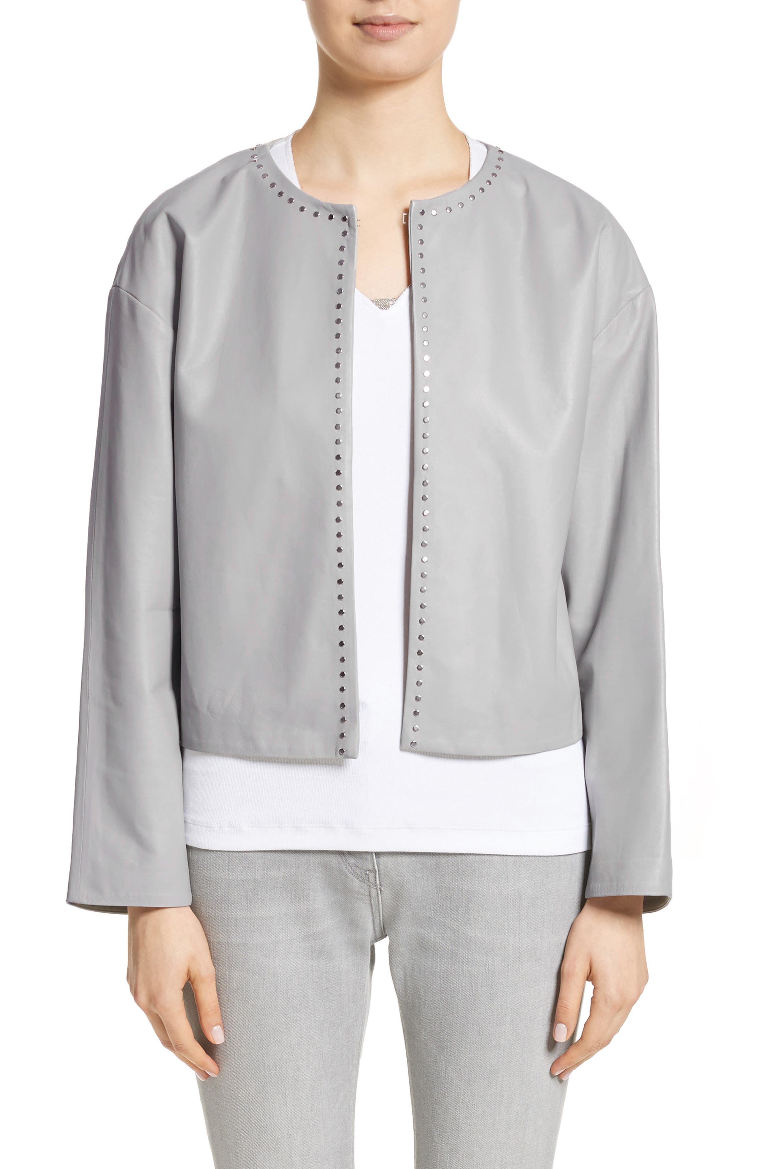 Studded Nappa Leather Jacket,                         Main,                         color, 020