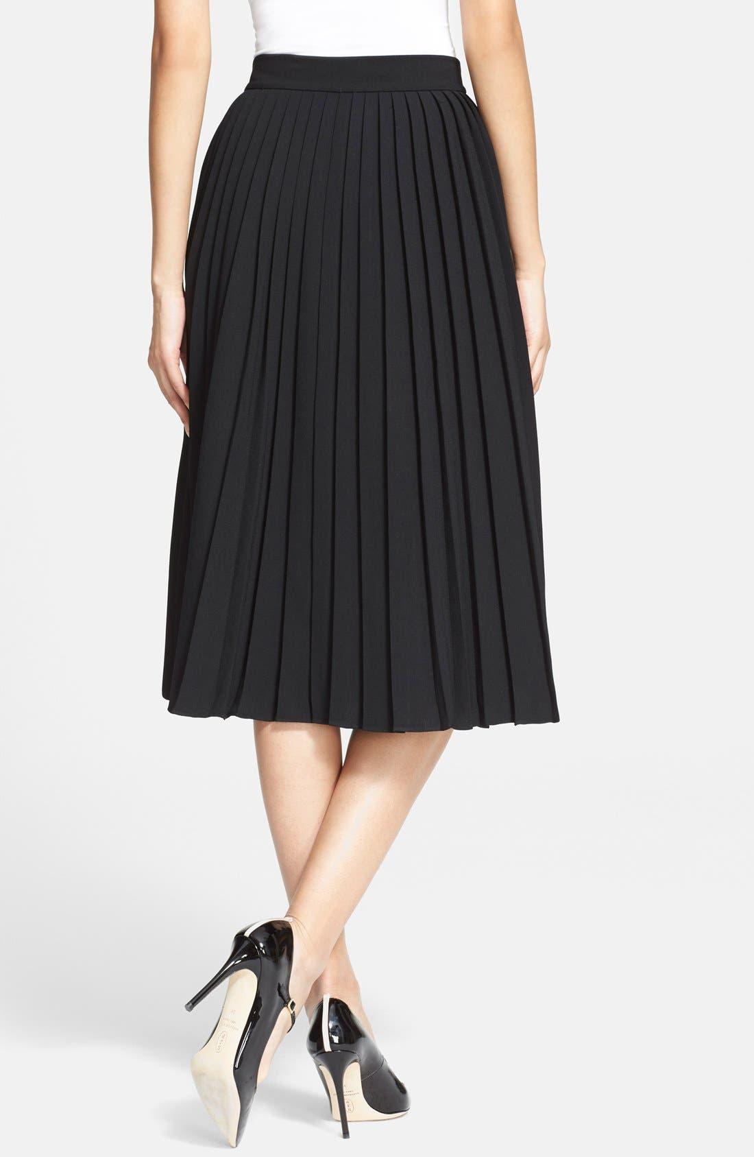pleated crepe midi skirt,                             Alternate thumbnail 5, color,