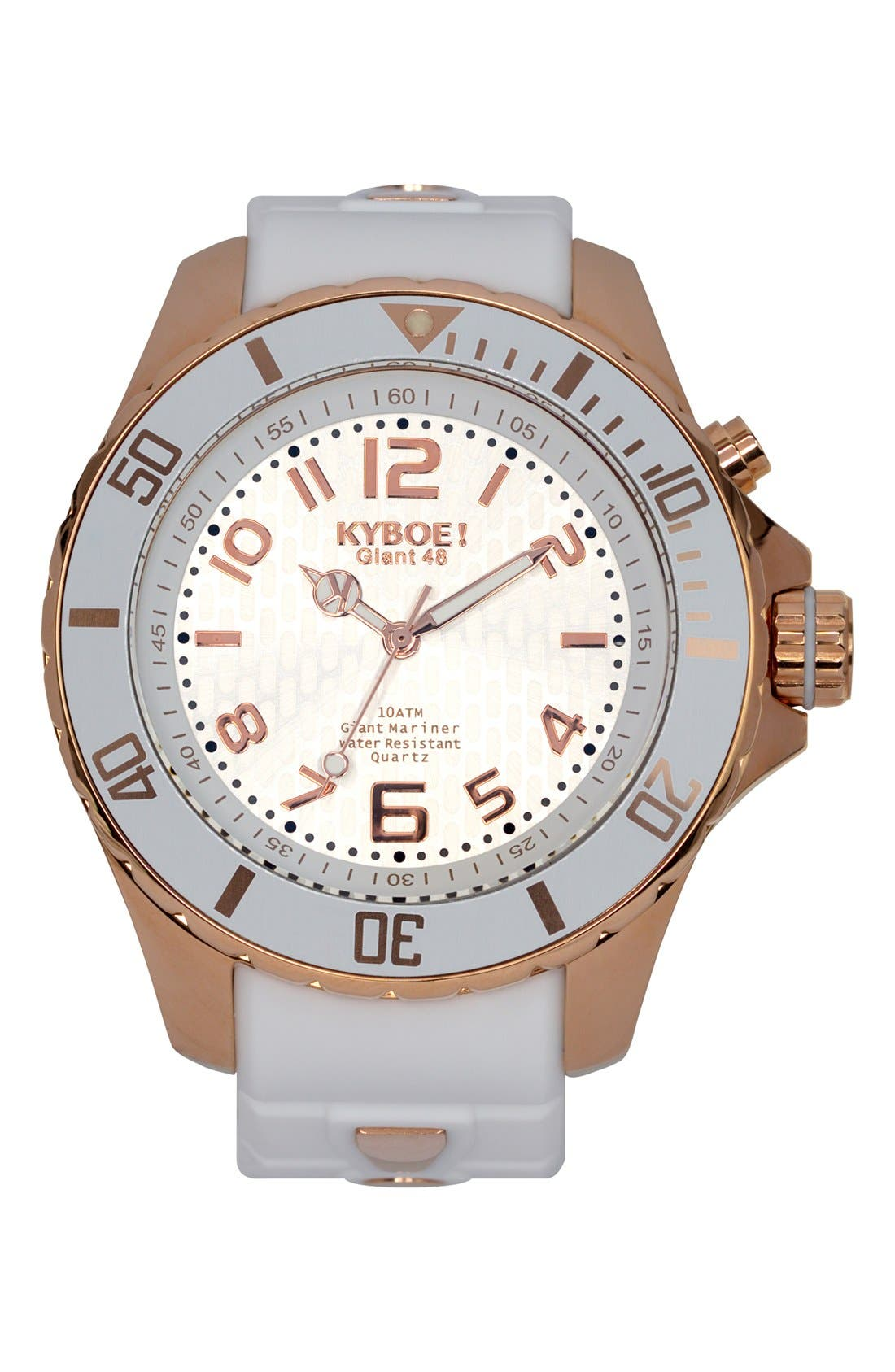 Silicone Strap Watch, 48mm,                         Main,                         color, WHITE/ ROSE GOLD
