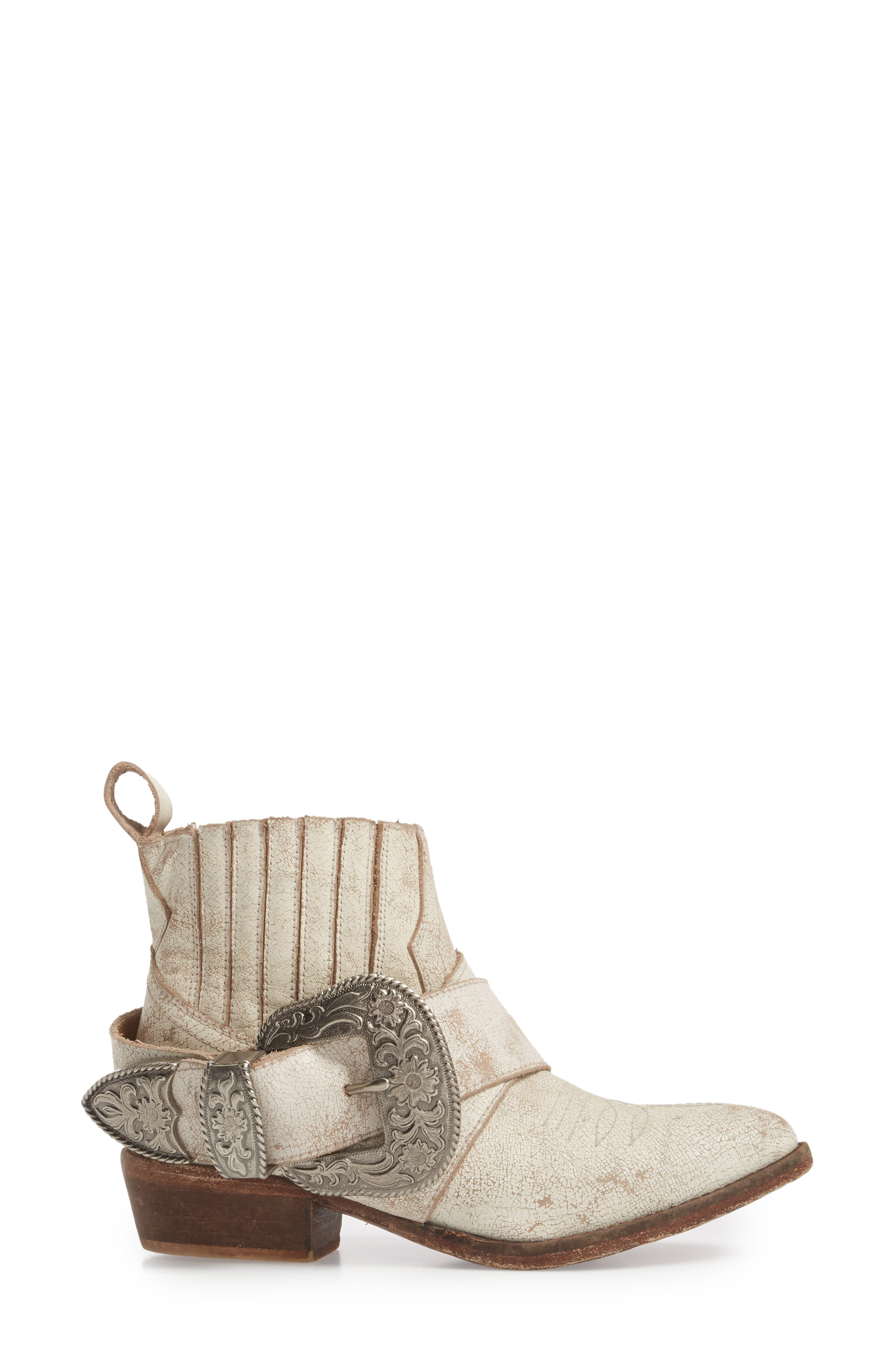 Western Biker Bootie,                             Alternate thumbnail 3, color,                             WHITE LEATHER