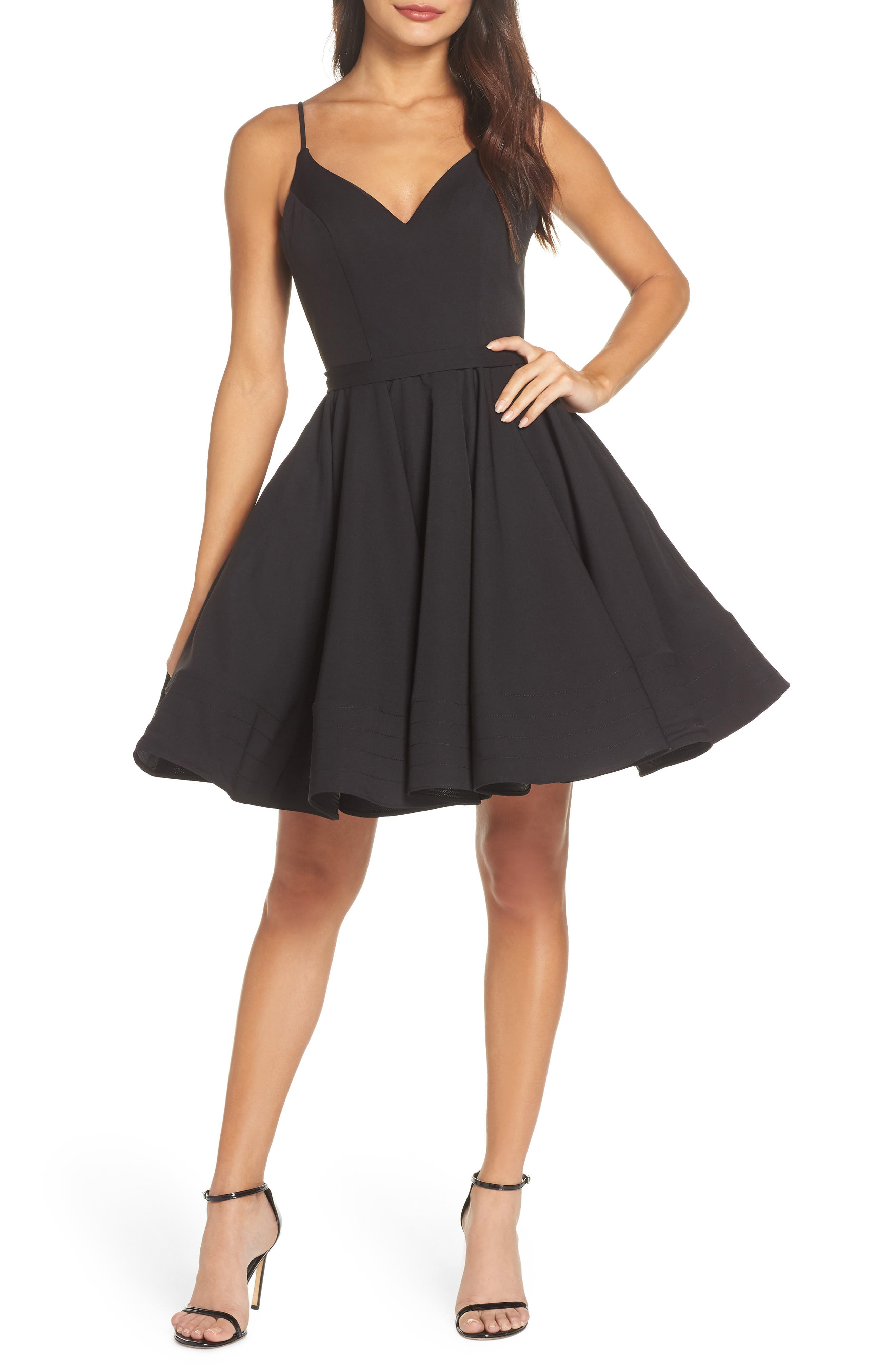 Fit & Flare Party Dress,                             Main thumbnail 1, color,                             BLACK
