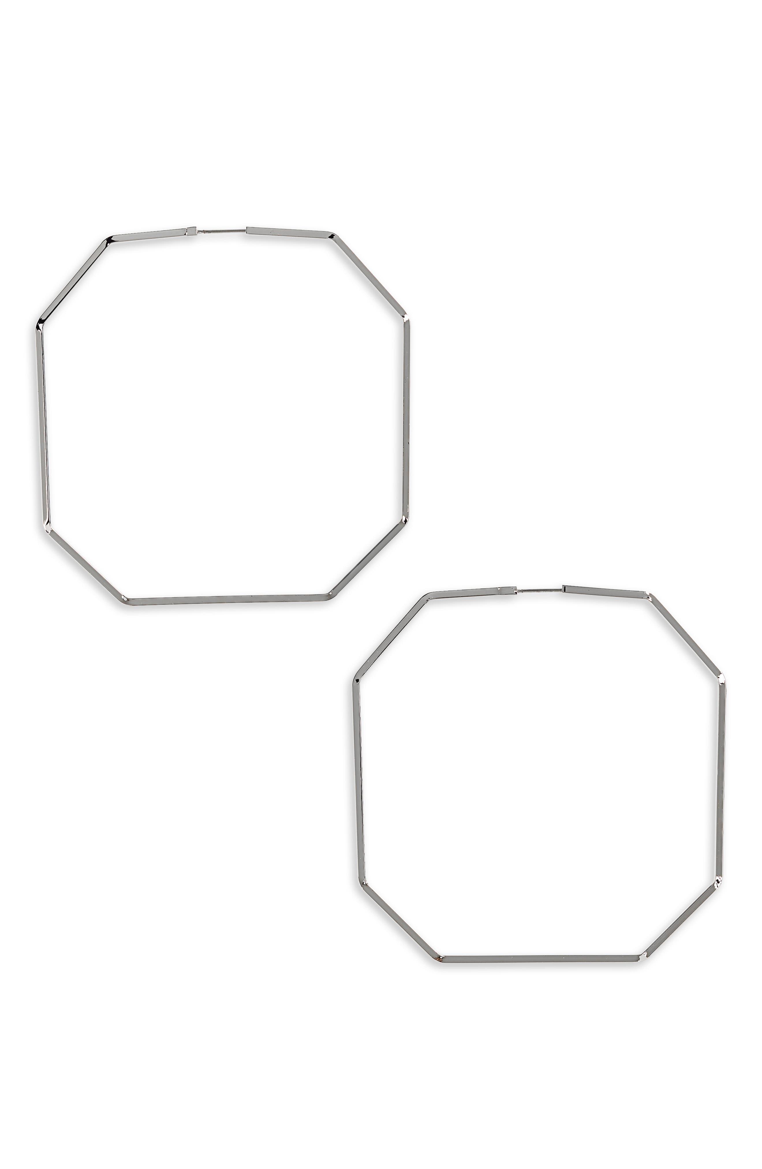 Octagon Hoop Earrings,                             Main thumbnail 1, color,                             040