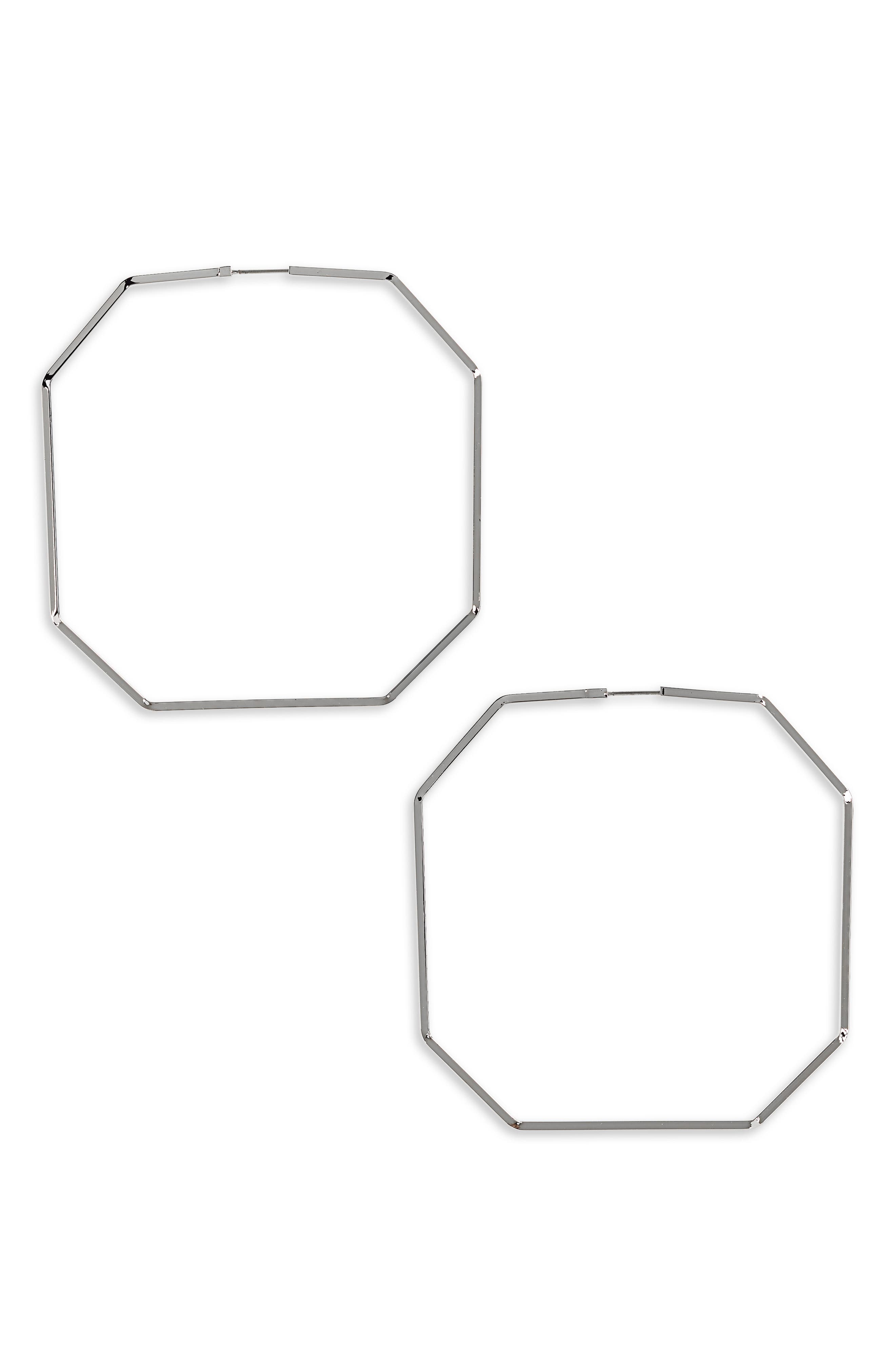 Octagon Hoop Earrings,                         Main,                         color, 040