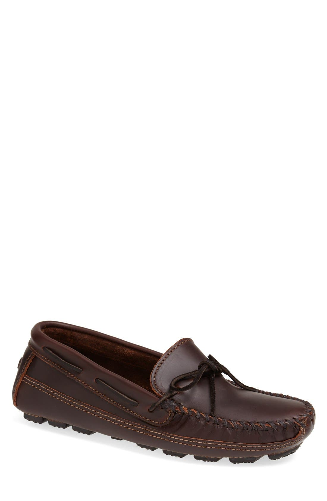 Leather Driving Shoe,                         Main,                         color, BROWN