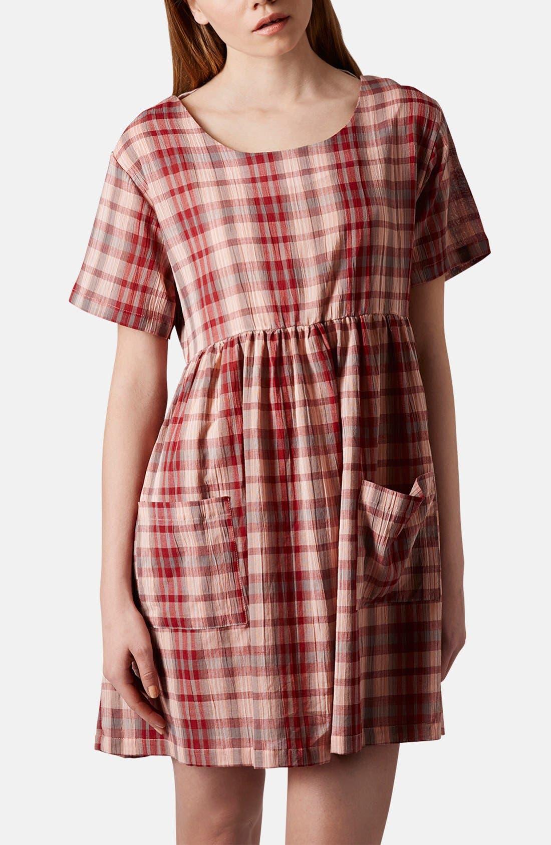 Plaid Cotton Smock Dress,                         Main,                         color, 600
