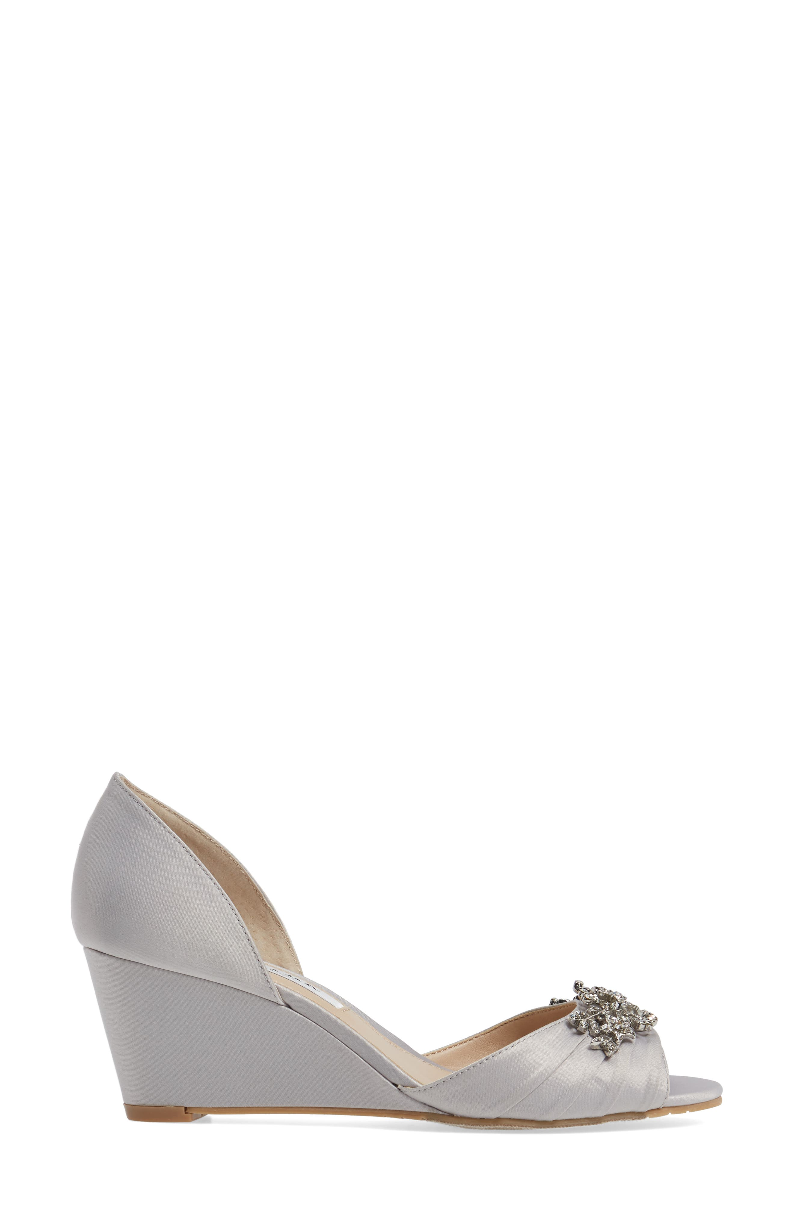 Emiko d'Orsay Wedge Pump,                             Alternate thumbnail 3, color,                             SILVER SATIN