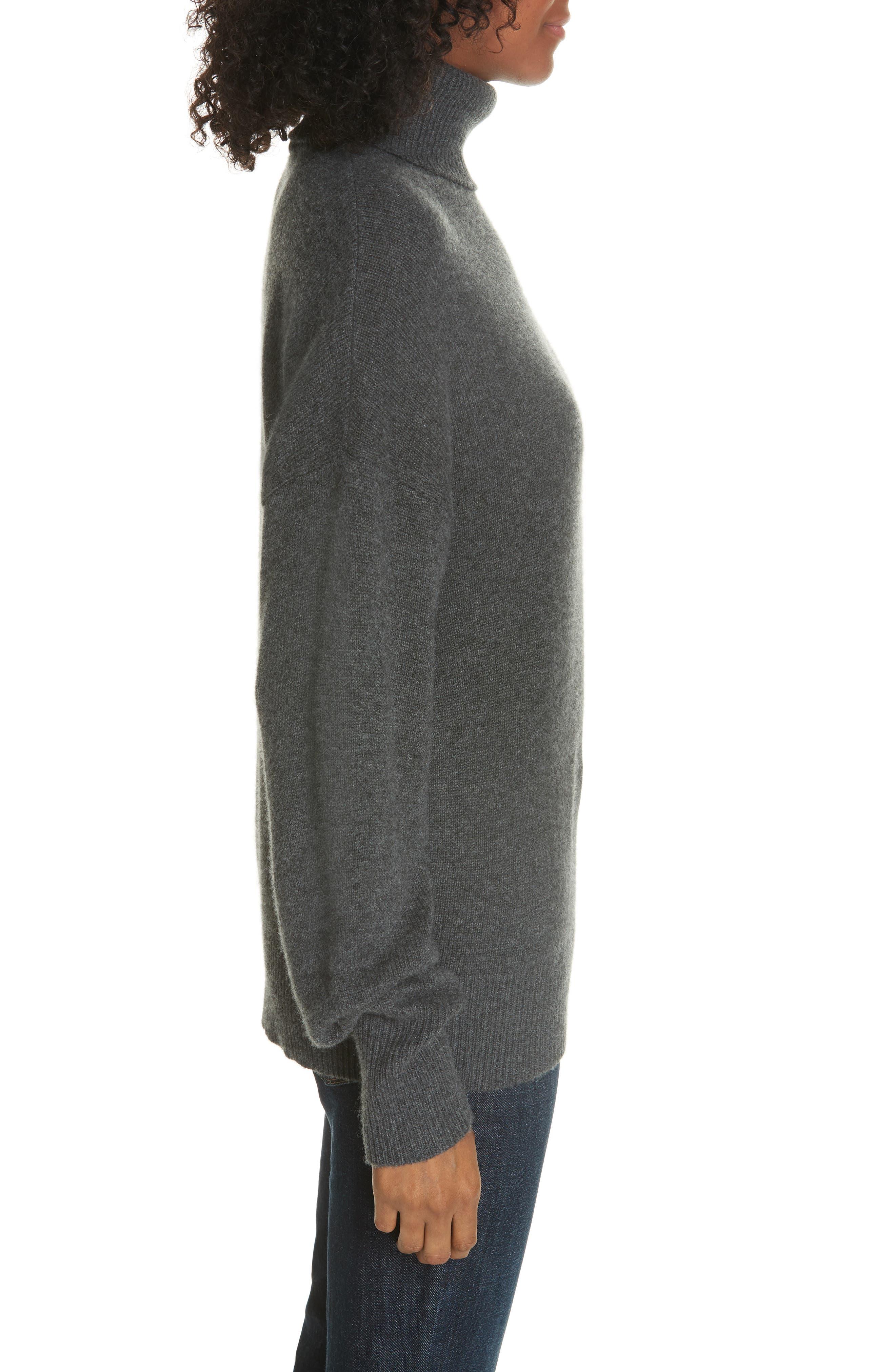 Cashmere Drop Shoulder Turtleneck Sweater,                             Alternate thumbnail 3, color,                             HEATHER BOULDER