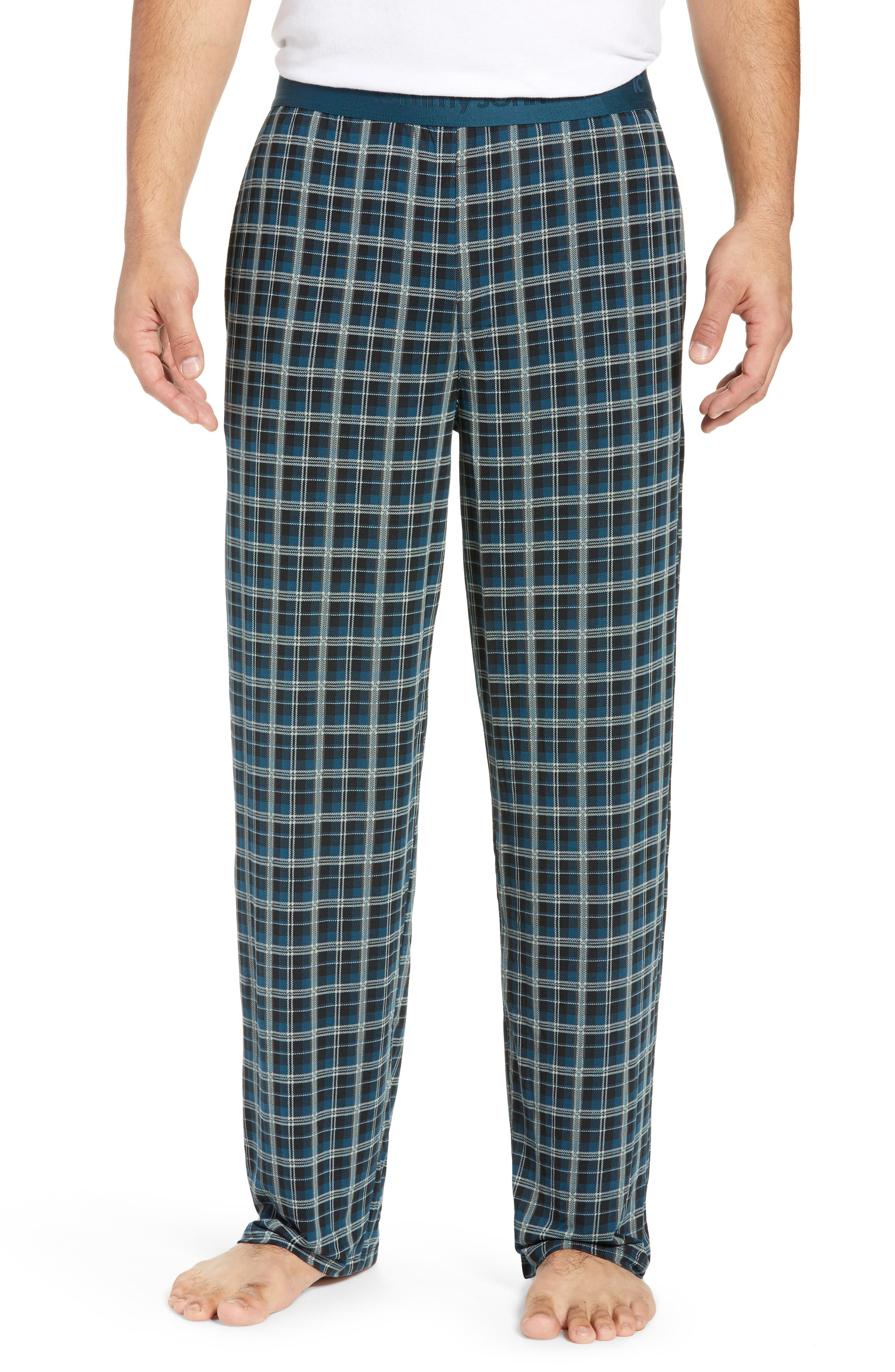 Second Skin Stretch Modal Pajama Pants,                         Main,                         color, REFLECTING POND PLAID