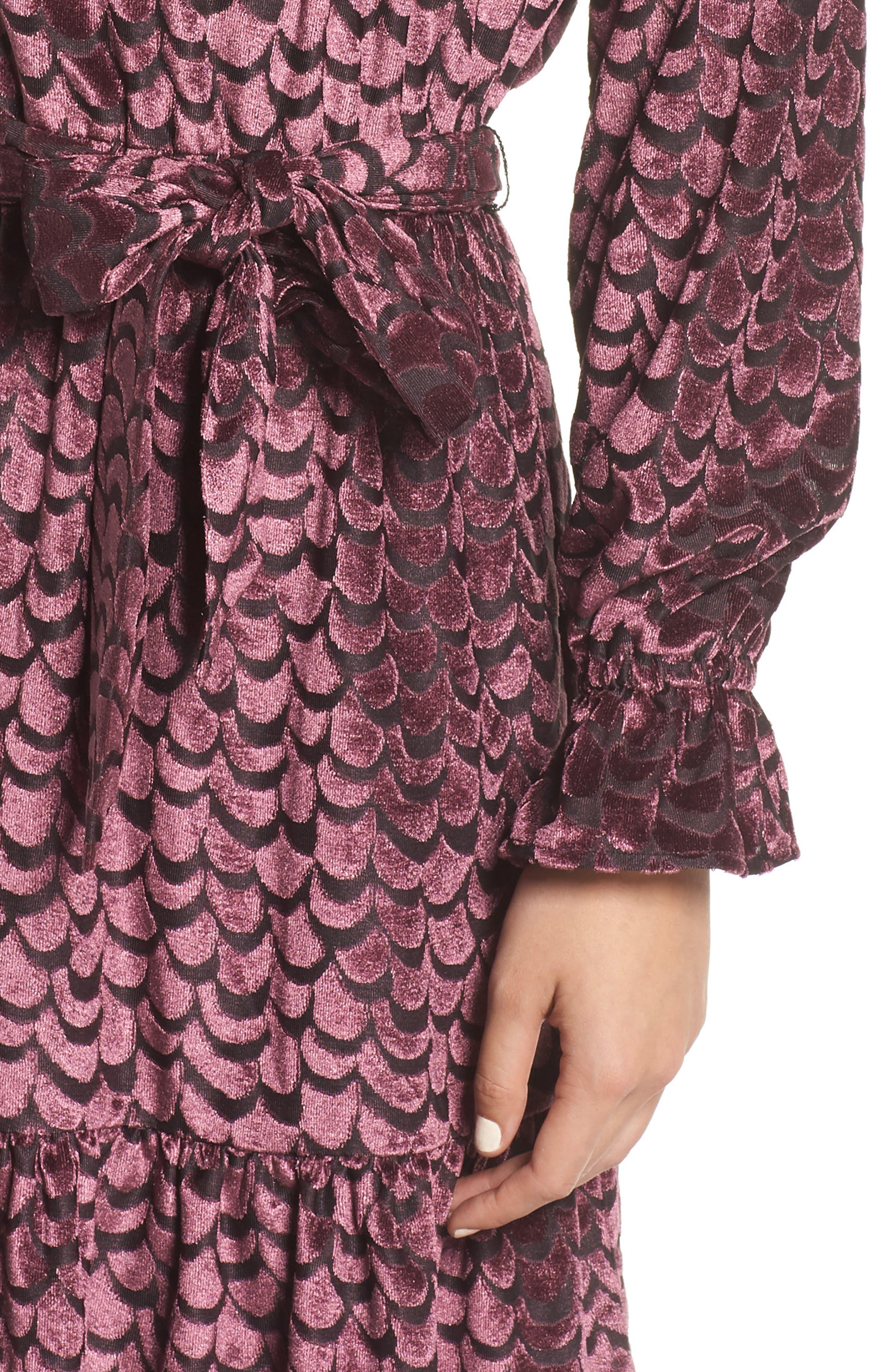 Velvet Tie Waist Dress,                             Alternate thumbnail 4, color,                             BLACK/ CORDOVAN