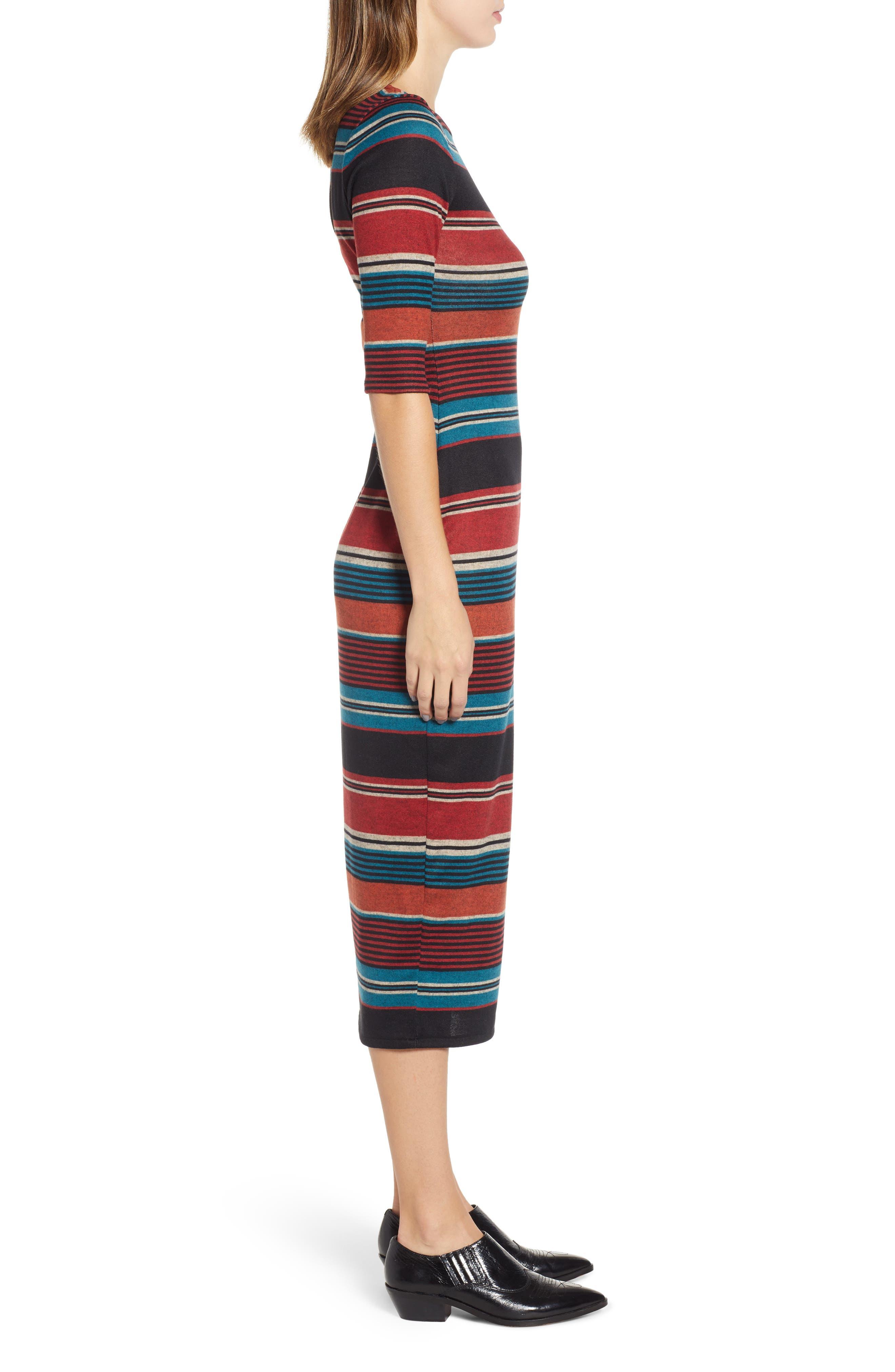 Knit Stripe Midi Dress,                             Alternate thumbnail 3, color,                             TEAL STRIPE