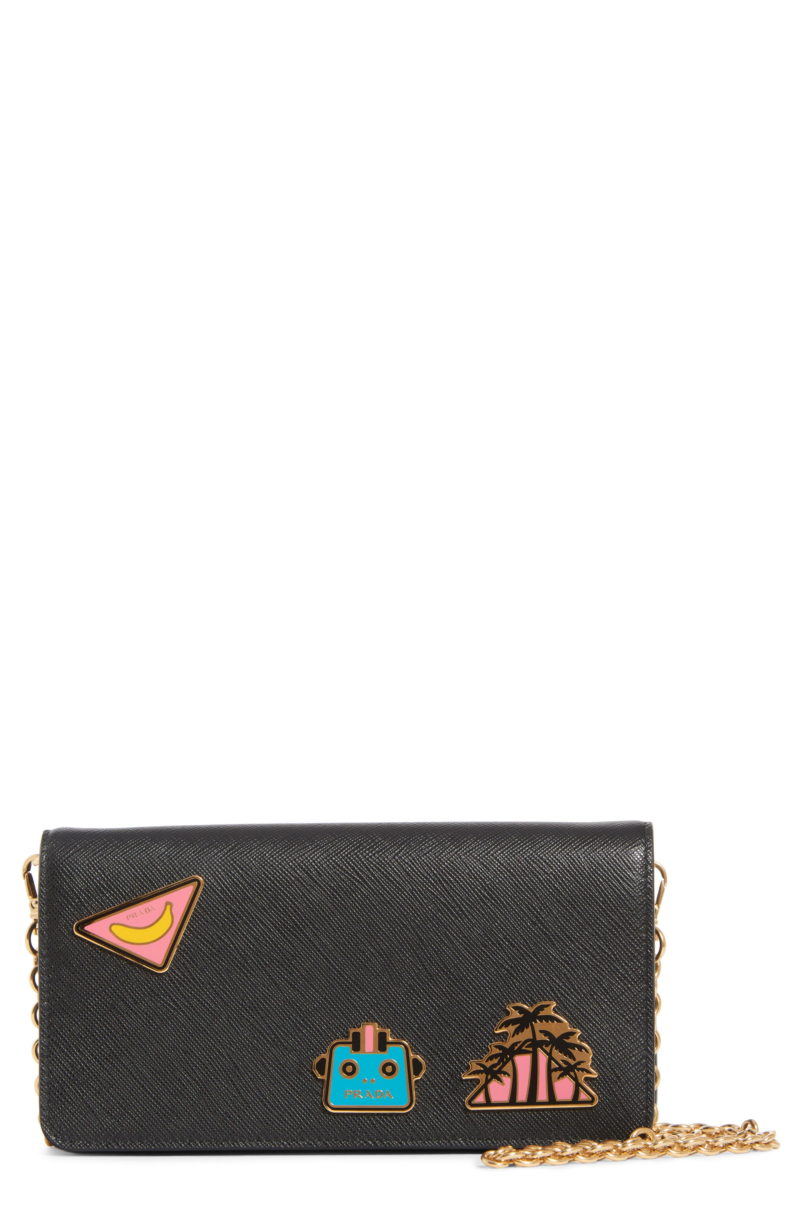 Embellished Saffiano Leather Wallet on a Chain,                         Main,                         color, NERO/ FUOCO