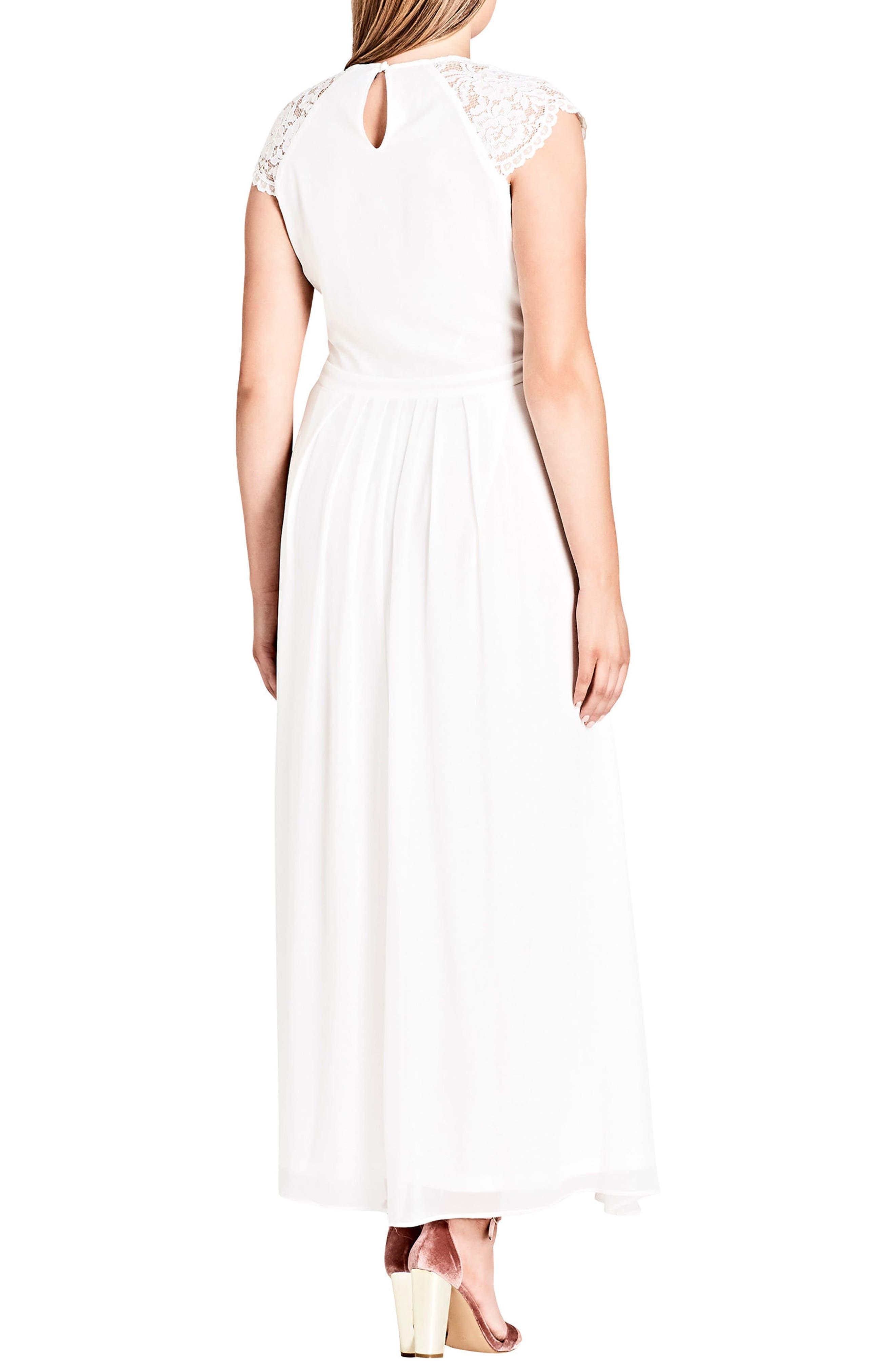 Lace Bodice Maxi Dress,                             Alternate thumbnail 2, color,                             WHITE