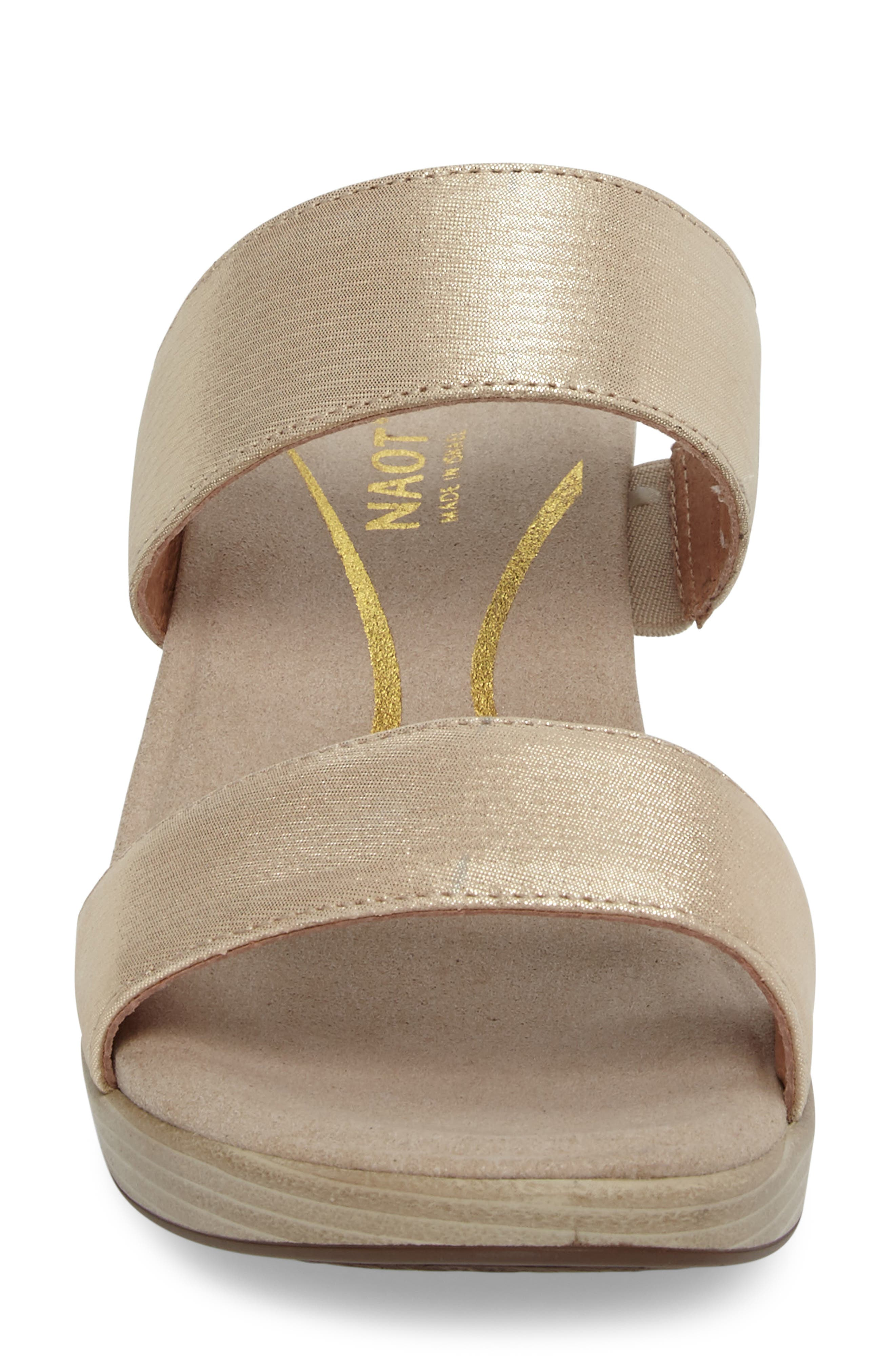 Fate Platform Sandal,                             Alternate thumbnail 4, color,                             GOLD THREADS LEATHER