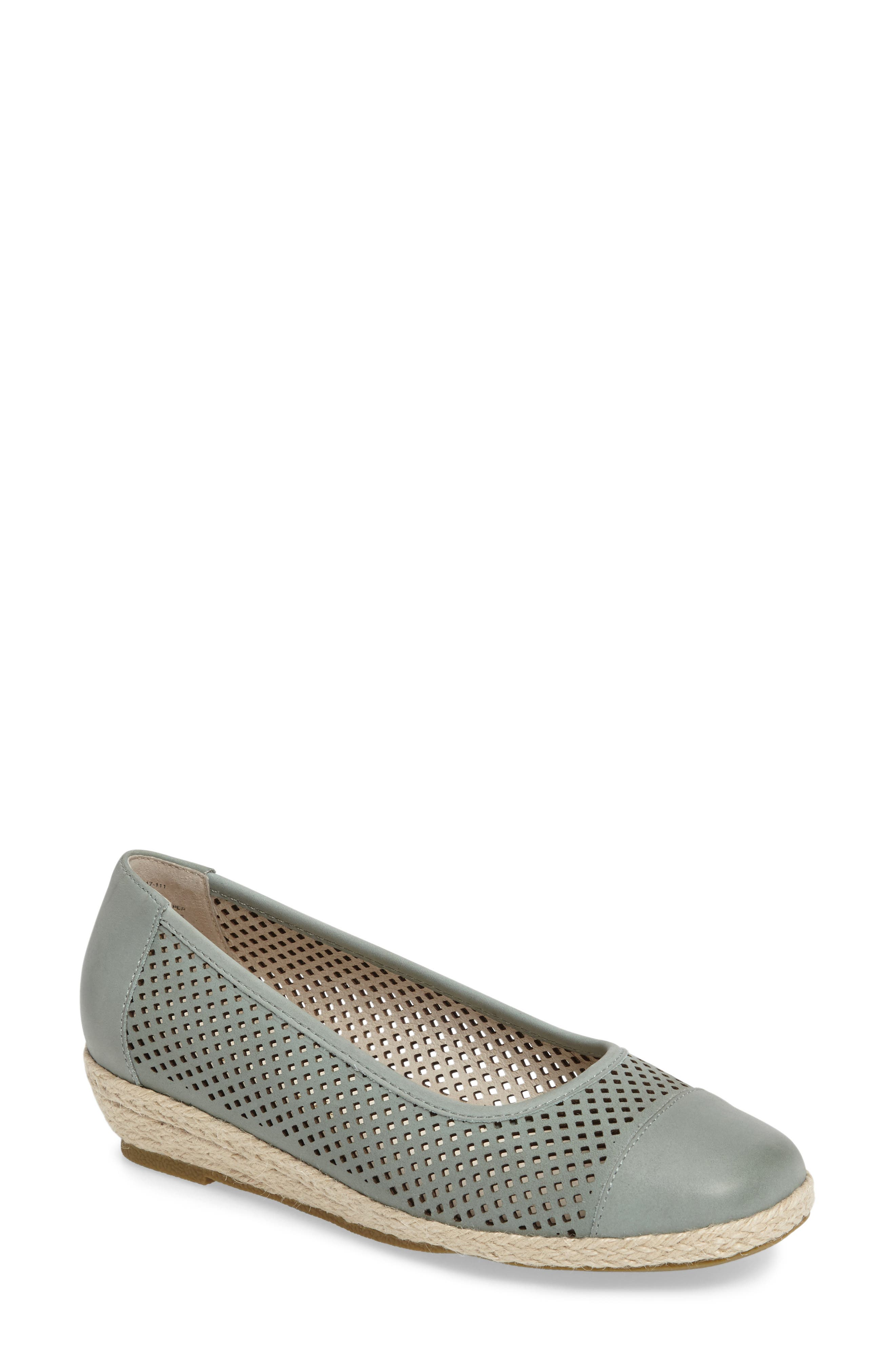 Nadine Perforated Espadrille Wedge,                             Main thumbnail 4, color,