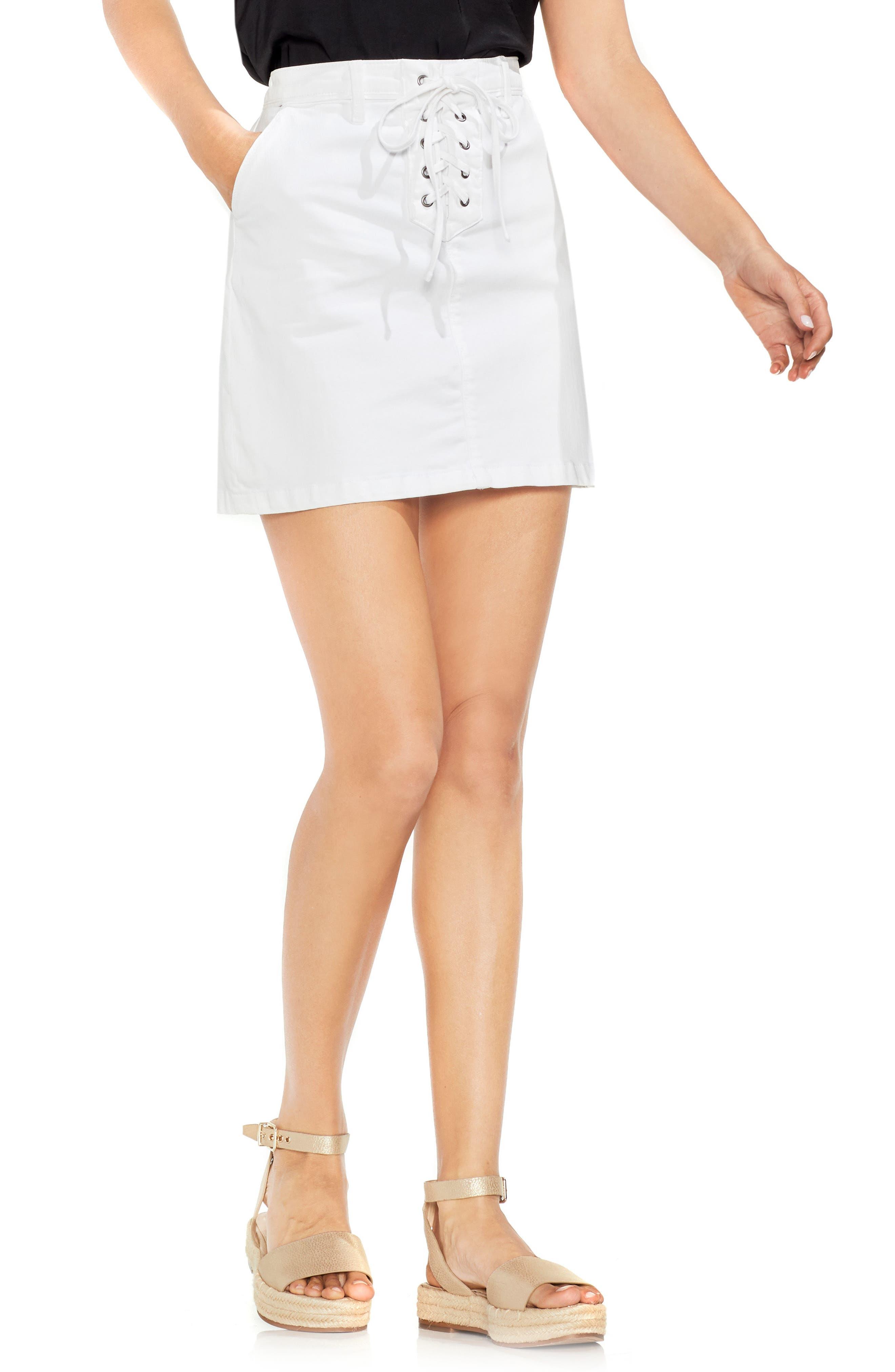 Lace-Up Stretch Cotton Mini Skirt,                             Main thumbnail 1, color,                             ULTRA WHITE
