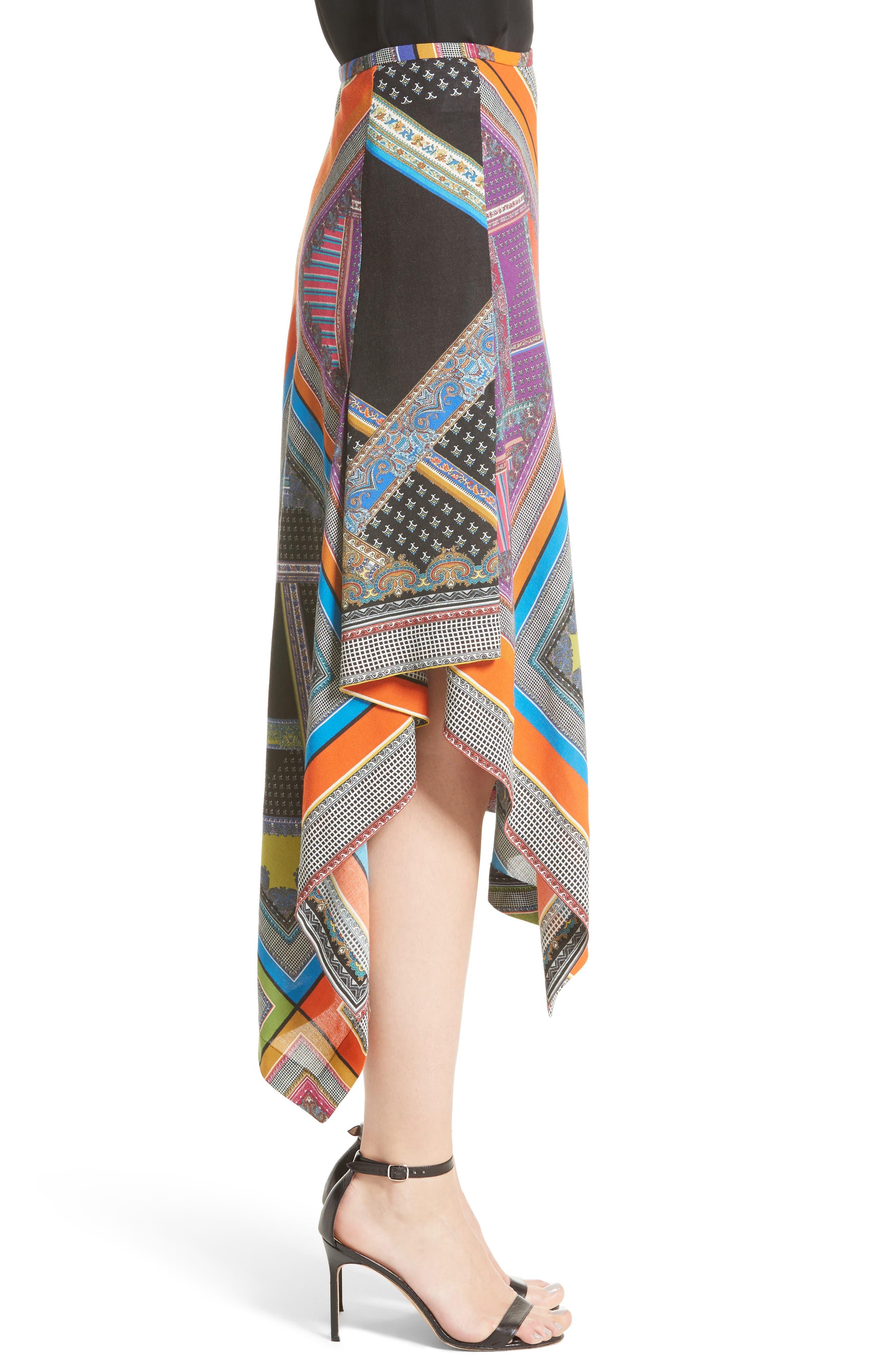 Patchwork Print Asymmetrical Skirt,                             Alternate thumbnail 3, color,                             800