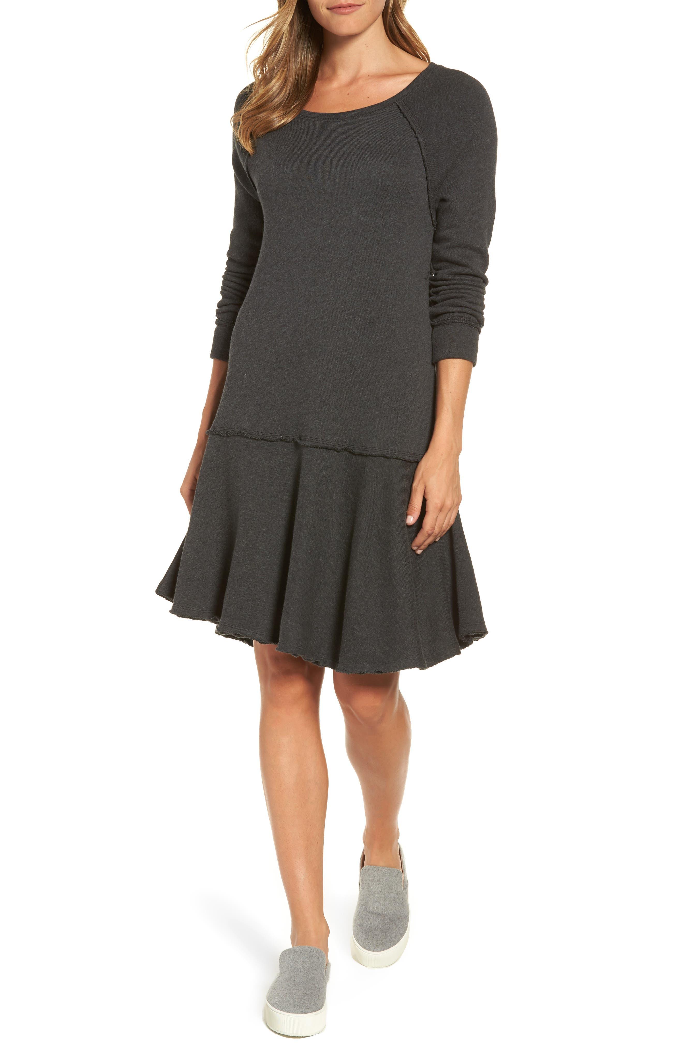 Ruffle Hem Knit Dress,                             Main thumbnail 1, color,                             021