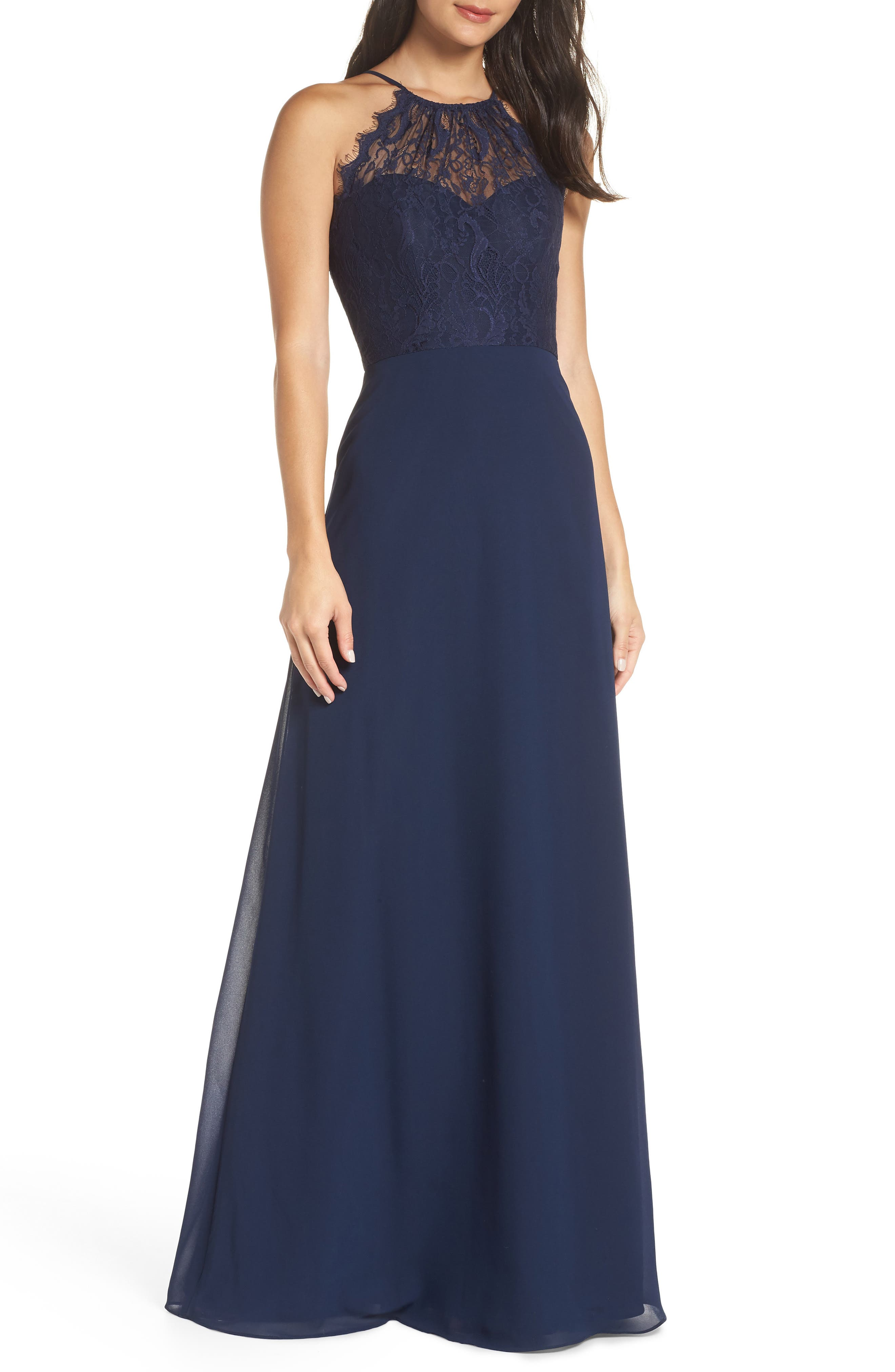 Hayley Paige Occasions Lace Halter Overlay Chiffon Gown, Blue