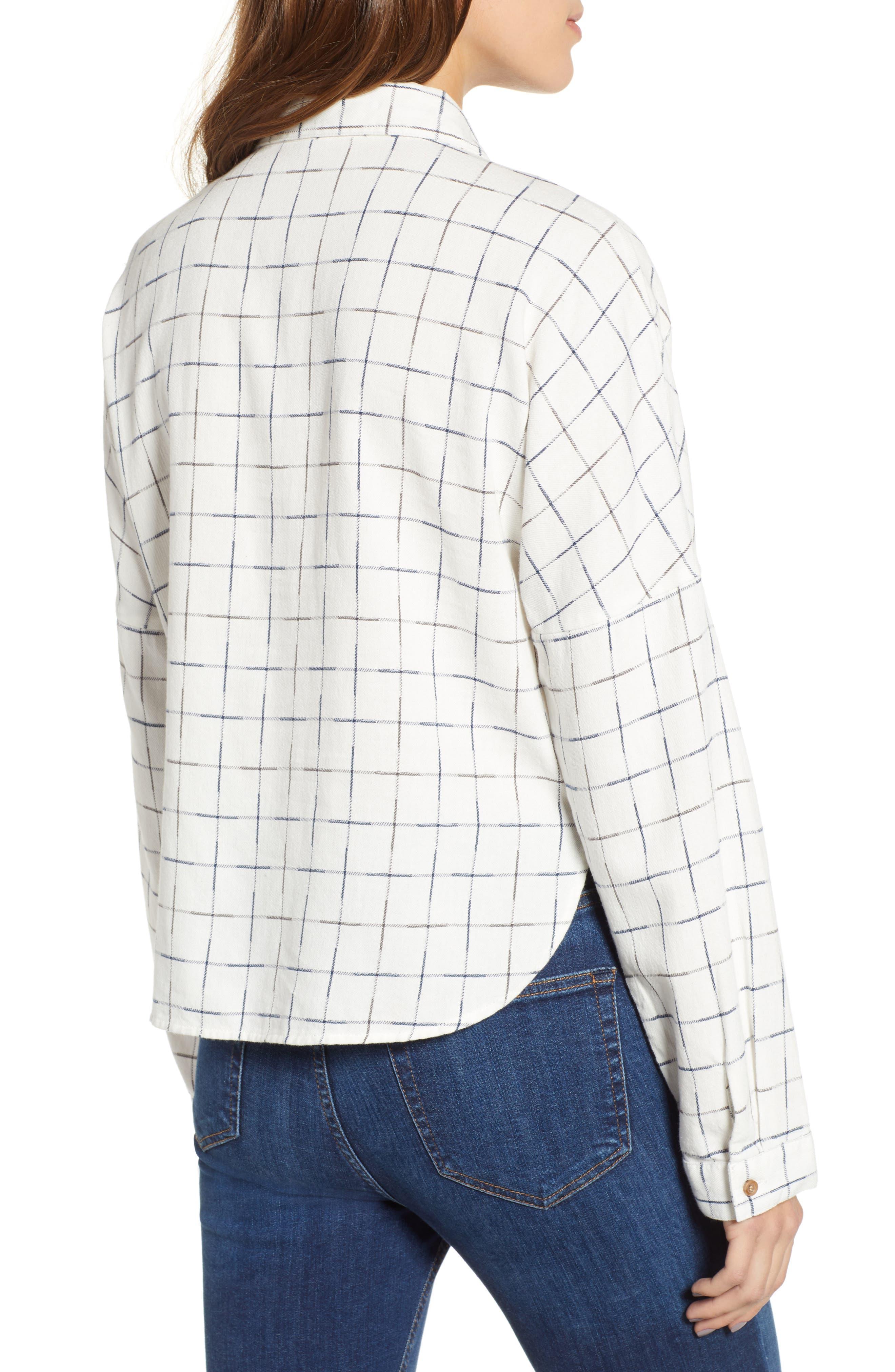 Check Flannel Shirt,                             Alternate thumbnail 2, color,                             NAVY/ WHITE GRID