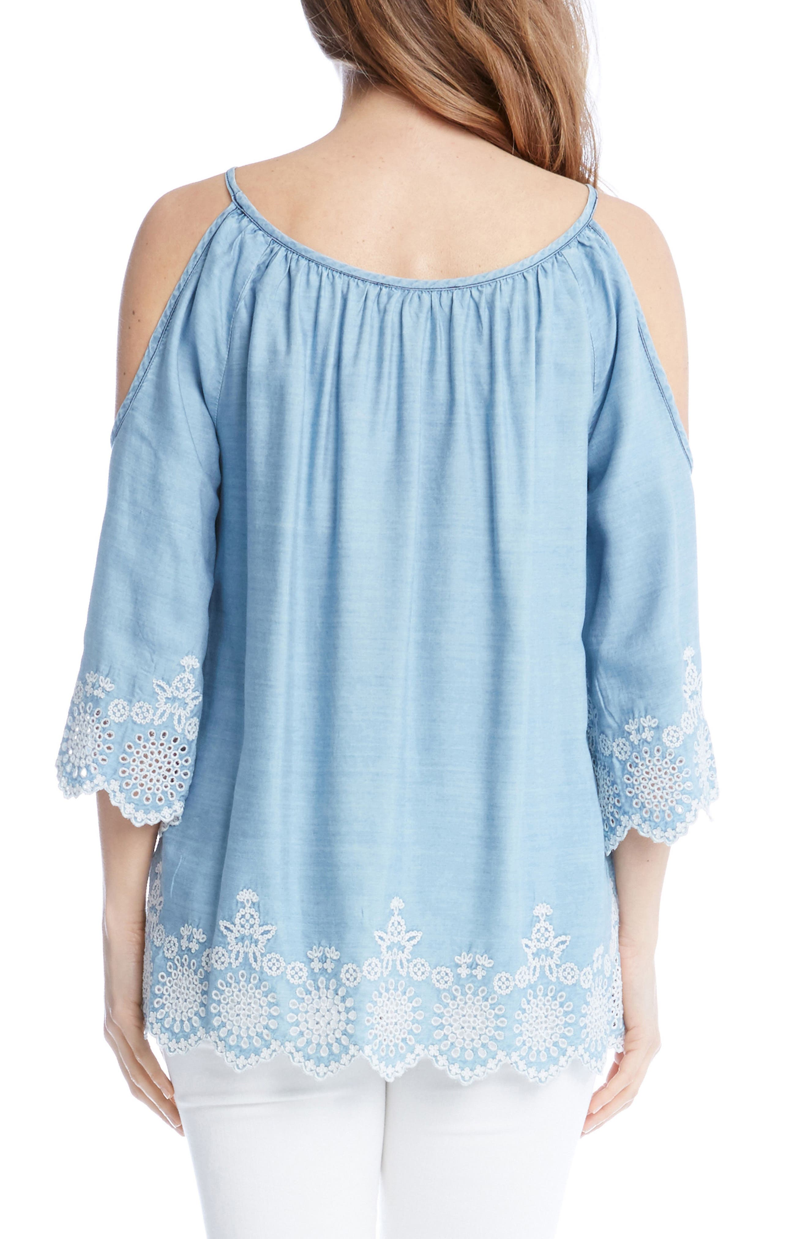 Embroidered Chambray Cold Shoulder Top,                             Alternate thumbnail 2, color,                             455