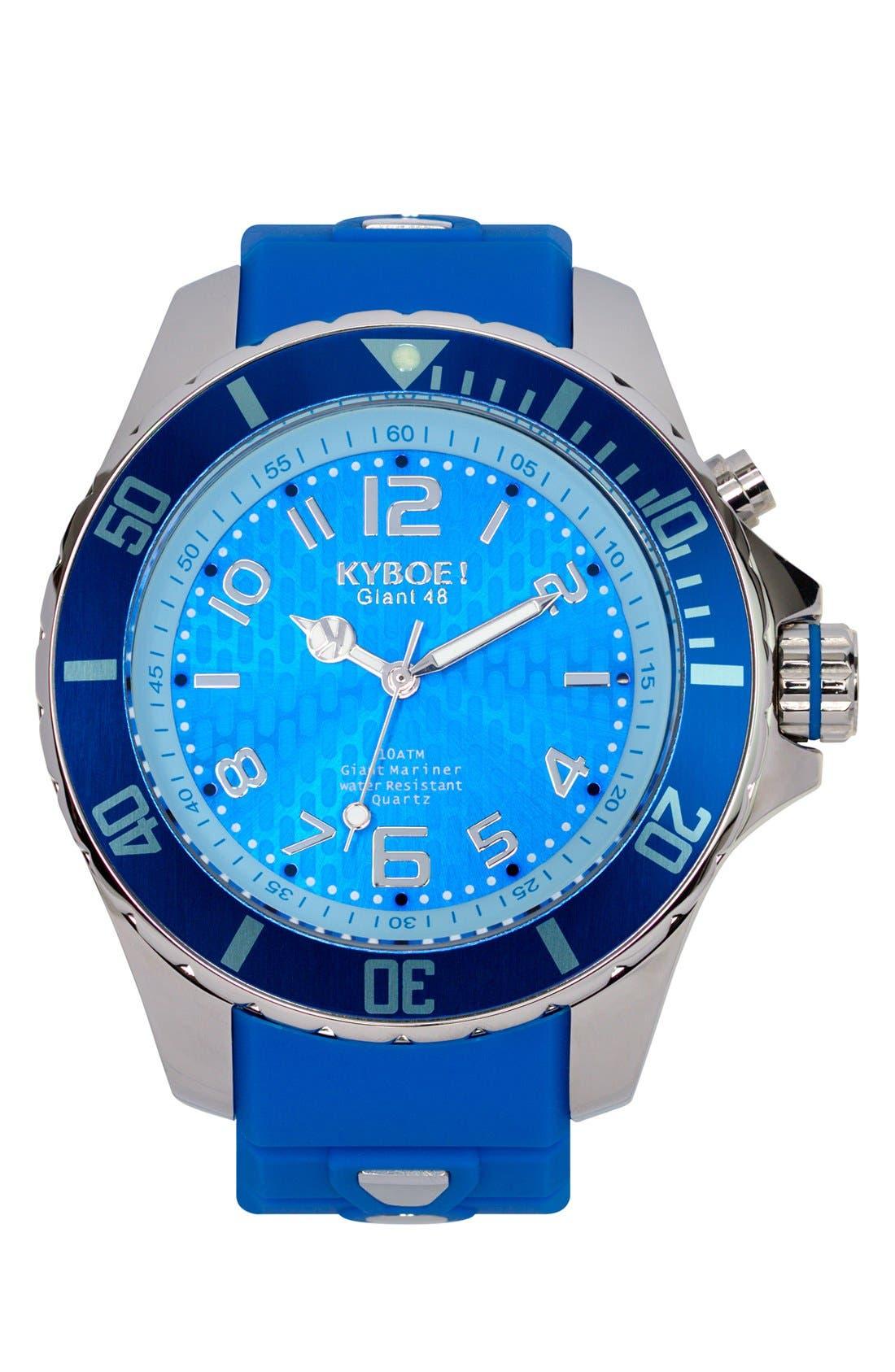 'Power' Silicone Strap Watch, 48mm,                         Main,                         color, GITANE BLUE/ GITANE BLUE