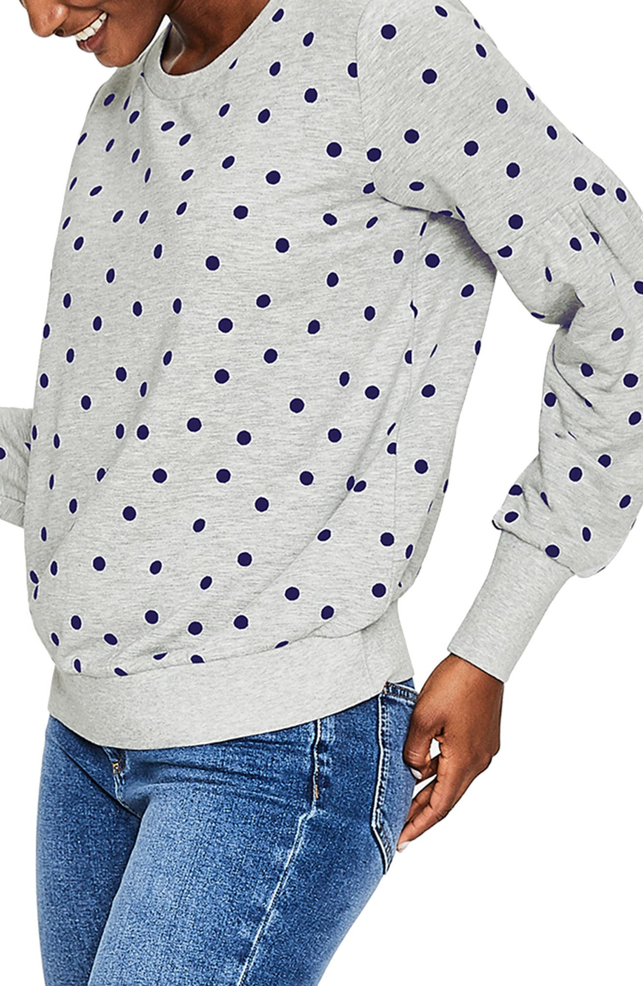 Renee Sweatshirt,                             Alternate thumbnail 3, color,                             GREY MARL FLOCKED SPOT