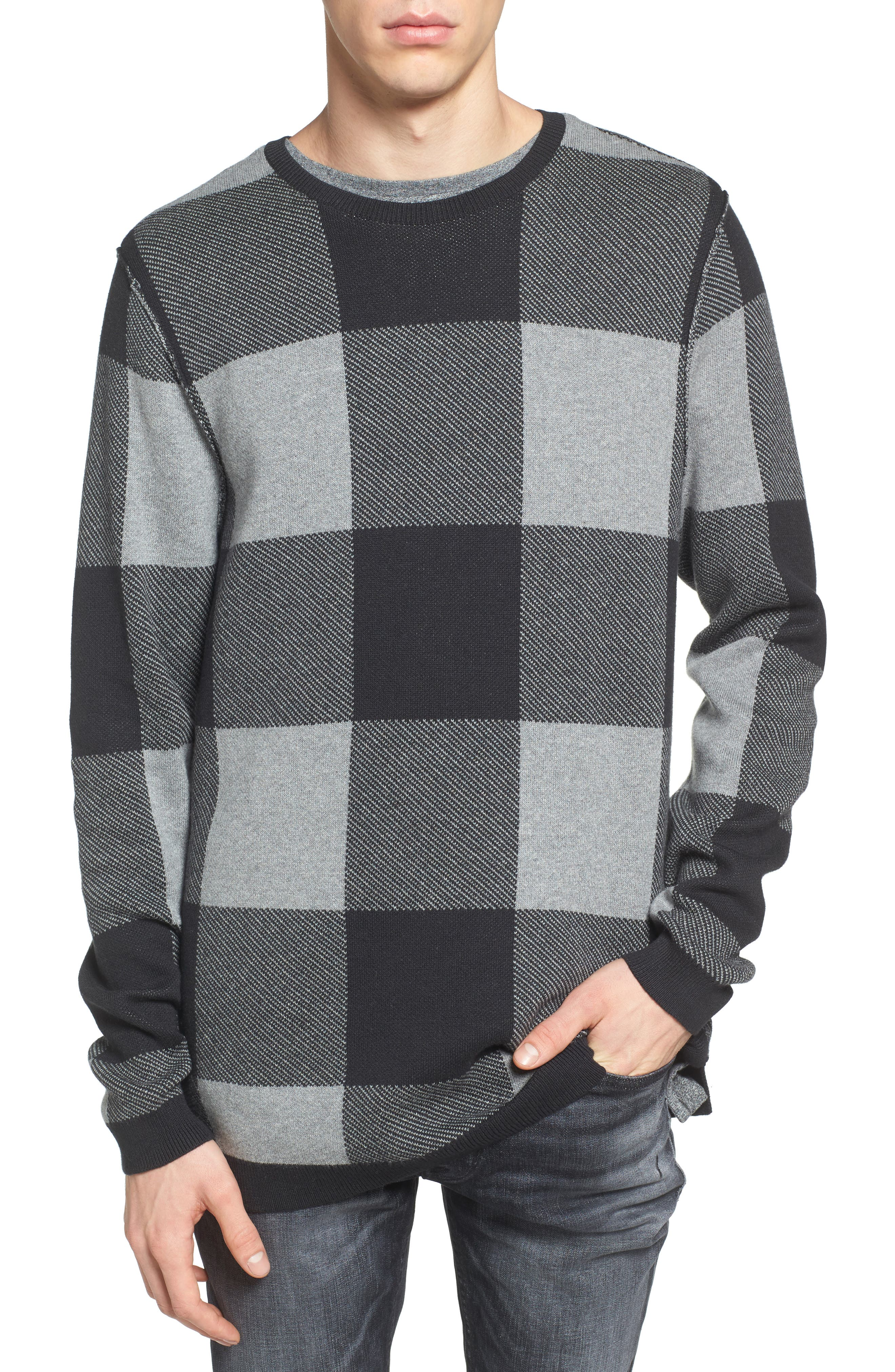 Oversize Buffalo Check Sweater, Main, color, 030