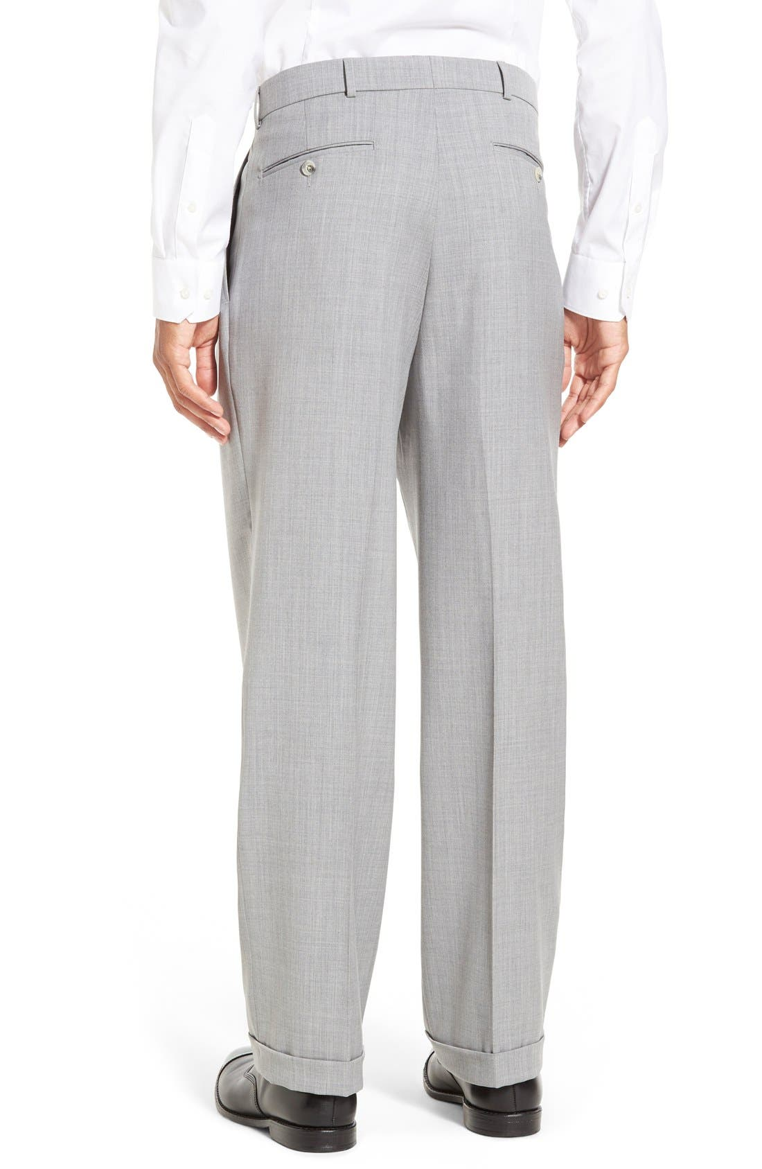 Pleated Solid Wool Trousers,                             Alternate thumbnail 18, color,