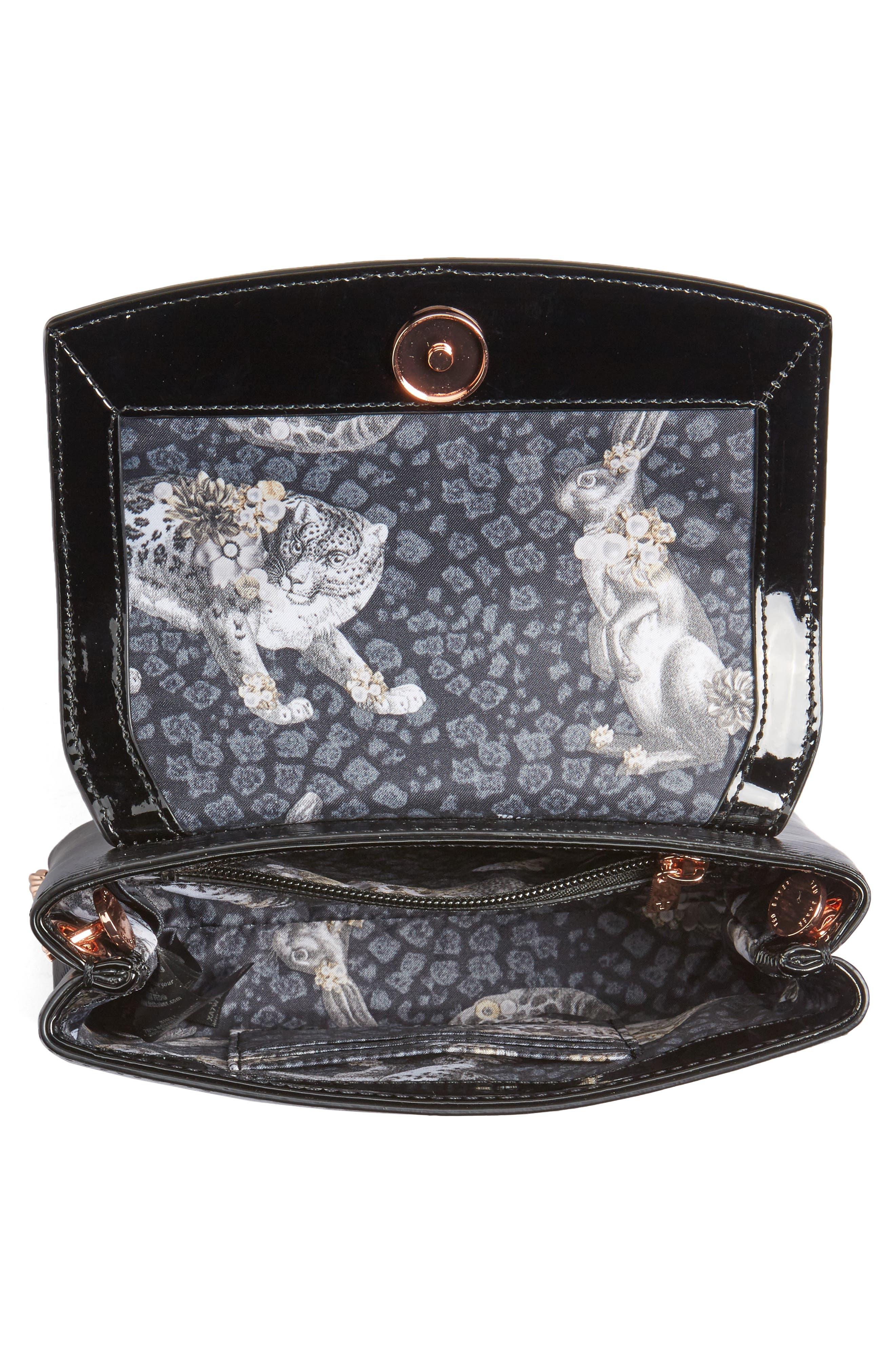 Loopa Bow Mini Leather Crossbody Bag,                             Alternate thumbnail 4, color,                             001