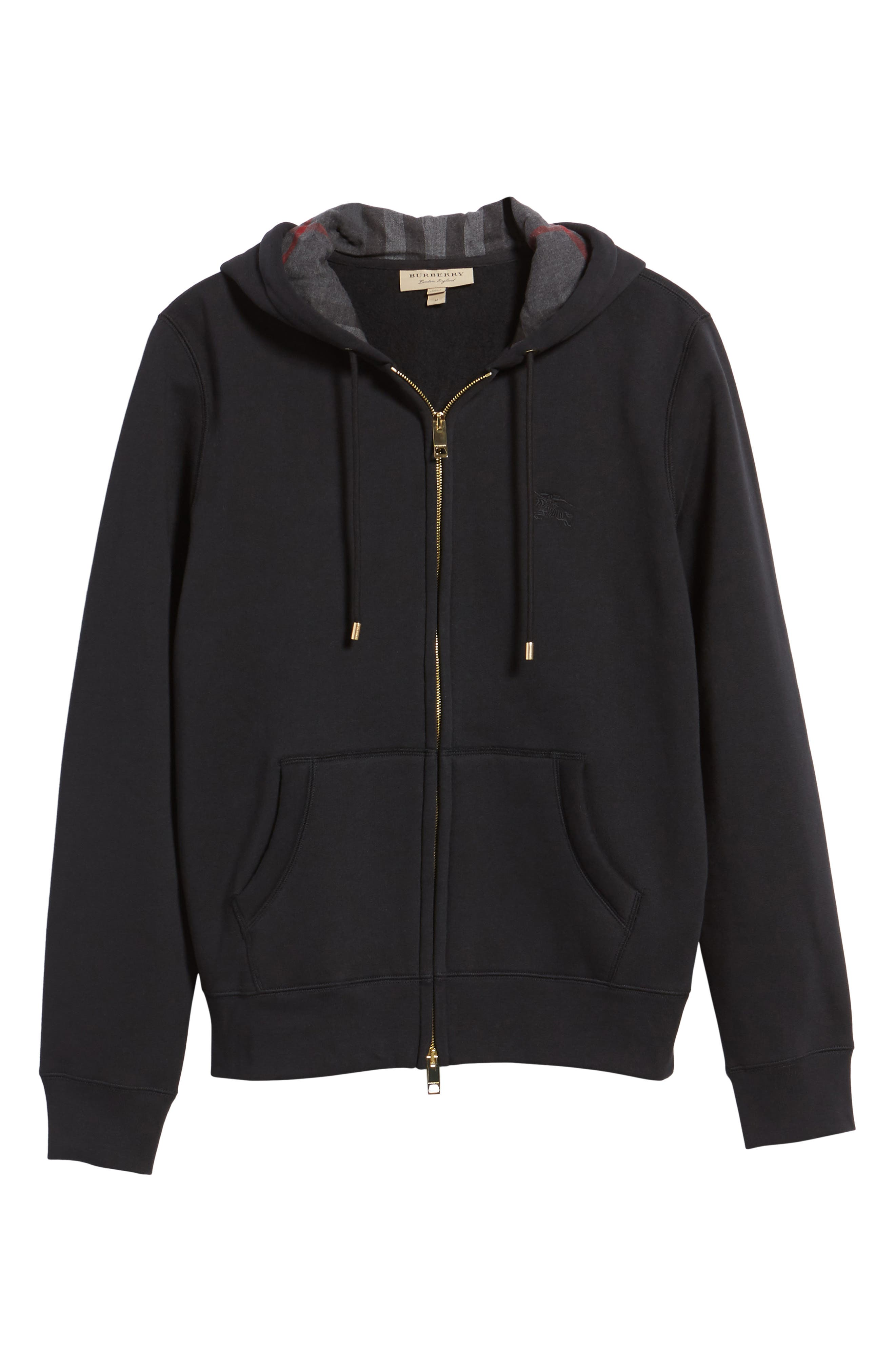 Claredon Regular Fit Zip Hoodie,                             Alternate thumbnail 6, color,                             001